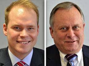 Democrat Jeremy Custer, left, is challenging Republican Grant Eckhoff for one of the District 4 seats on the DuPage County Board.