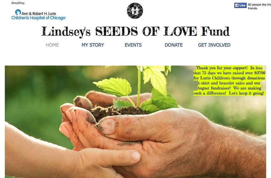 Lindsey McDonald was injured when a horse fell on her last summer. While recovering, she started a website to raise money for families at Lurie Children's Hospital in Chicago. The address is www.myseedsoflovefund.org.