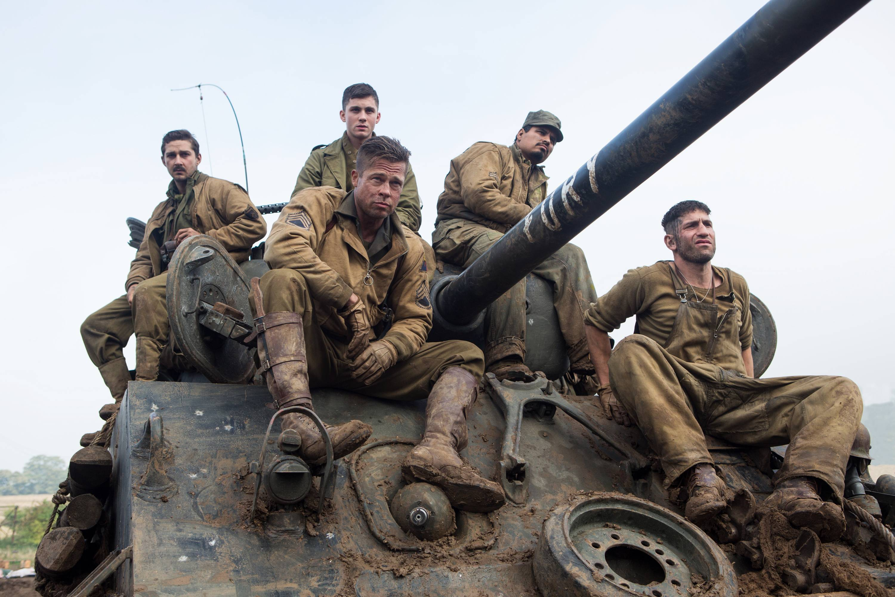 "Fom left, Shia LaBeouf as Boyd ""Bible"" Swan, Logan Lerman as Norman, Brad Pitt as Sgt. Don ""Wardaddy"" Collier, Michael Pena as Trini ""Gordo"" Garcia, and Jon Bernthal as Grady ""Coon-Ass"" Travis star in ""Fury,"" which debuted at No. 1 at the box office."