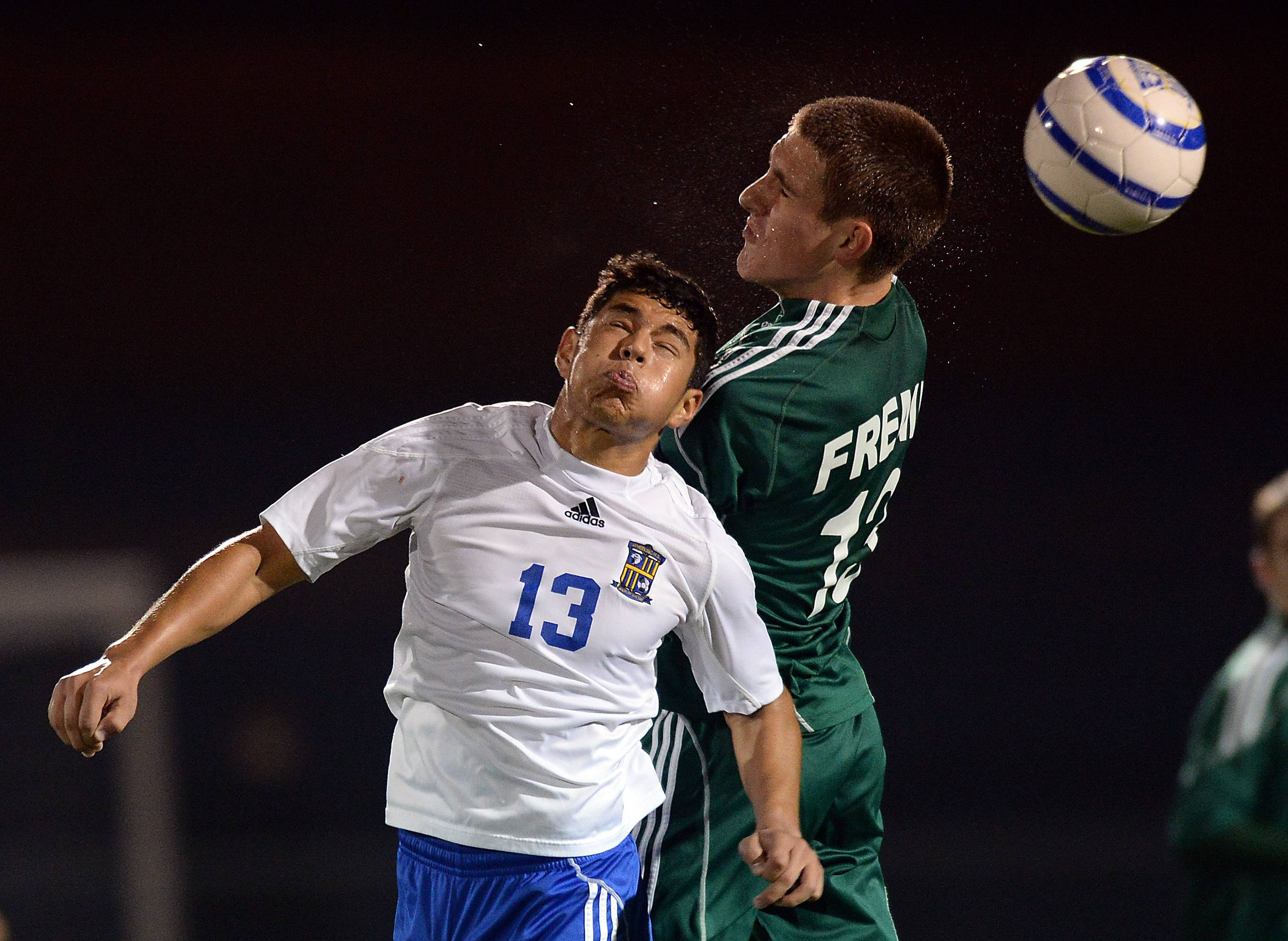 Fremd's Tomas Peleckas and Wheeling's Jose Garcia battle for the ball in the Mid-Suburban League championship game last week at Wheeling. Both teams will compete in beginning rounds of the Palatine sectional this week.