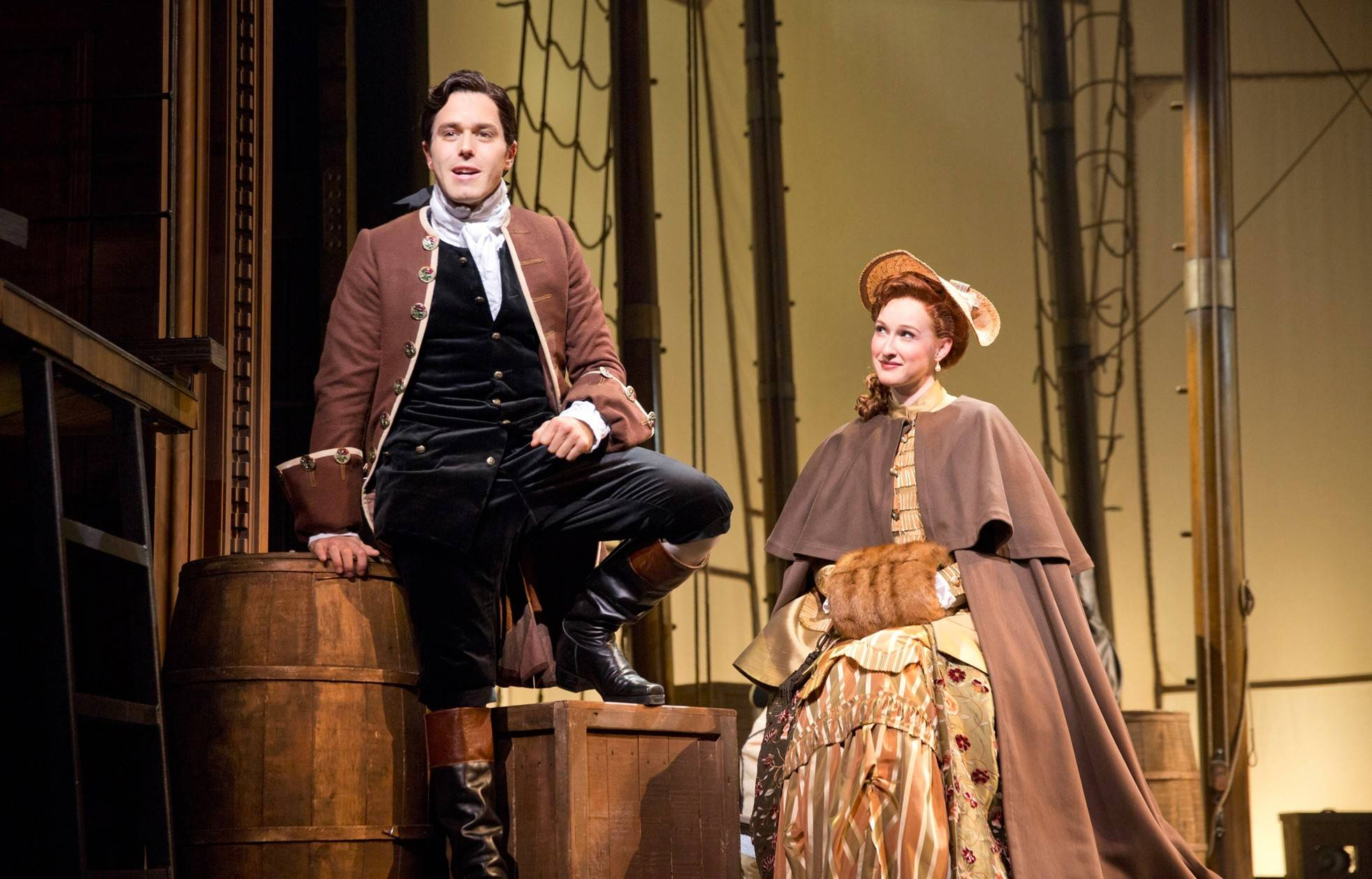 "Friendship between John Newton (Josh Young) and Mary Catlett (Erin Mackey) blossoms into romance in the new musical ""Amazing Grace,"" running through Nov. 2 at the Bank of America Theatre in Chicago."