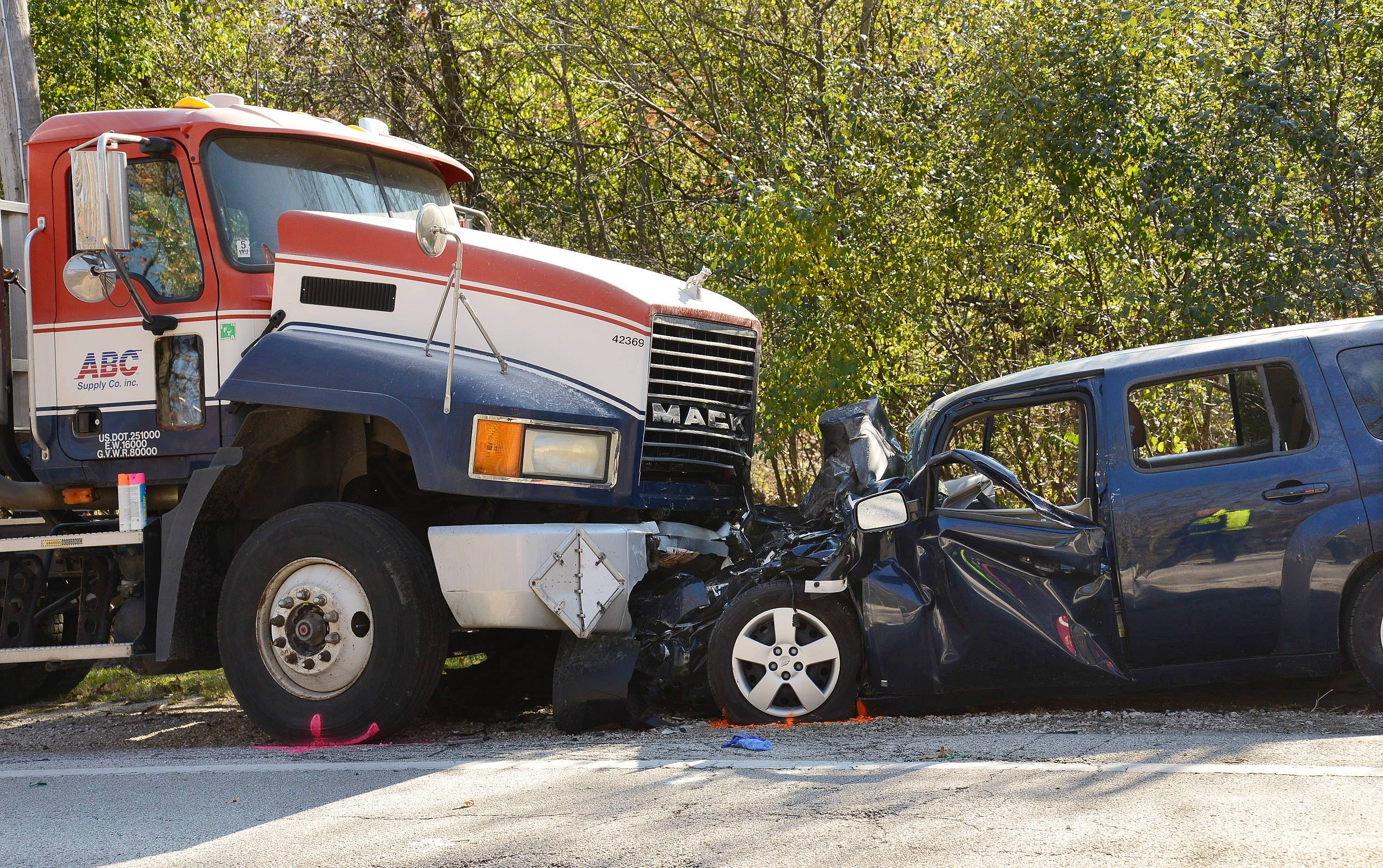 A Long Grove man died Wednesday after running into a parked semitrailer truck on Old McHenry Road in Long Grove.