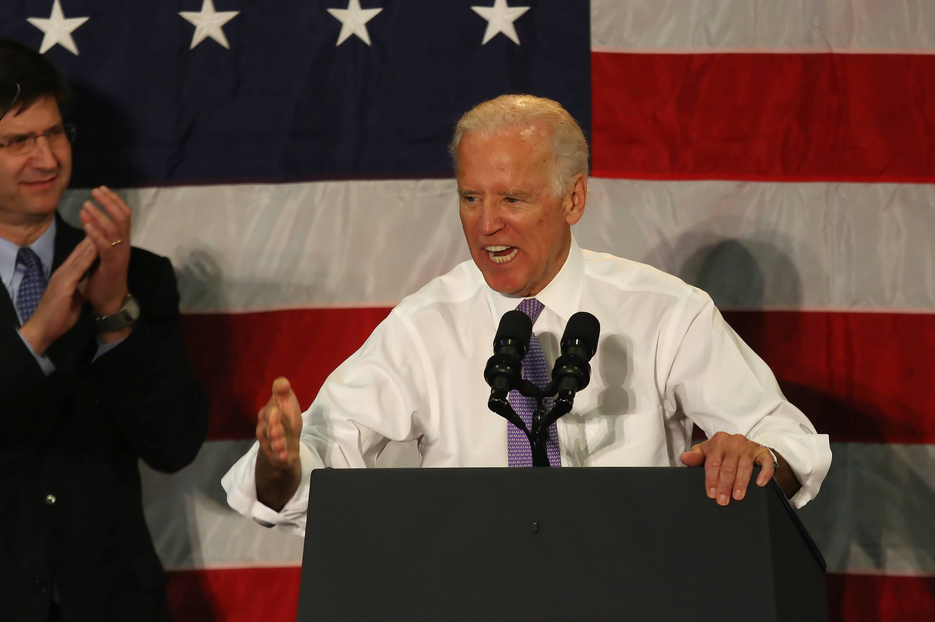 Vice President Joe Biden spoke to a crowd of more than 750 in Vernon Hills on Wednesday at a campaign rally for several Illinois Democrats, including U.S. Rep. Brad Schneider and Sen. Dick Durbin.