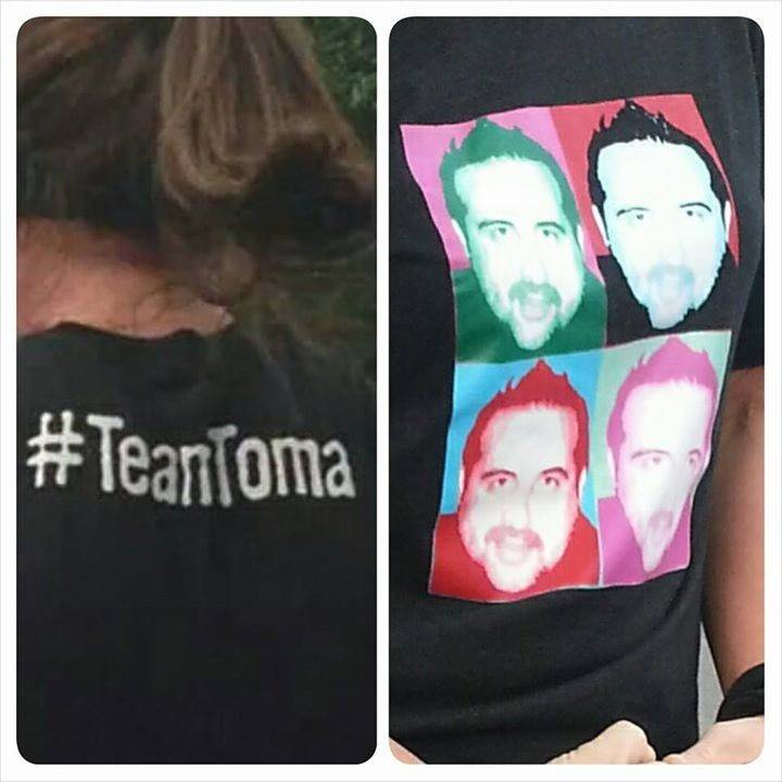 "Fans of ""The Biggest Loser"" contestant Toma Dobrosavljevic, of Bloomingdale, wear their #TeamToma T-shirts every Thursday night, when the show airs. They're gathering for a group photo and show viewing at 6 p.m. Thursday at Addison Trail High School."