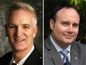 Mark Curran, left, and Jason Patt, right, are running for Lake County sheriff in the Nov. 4 election.