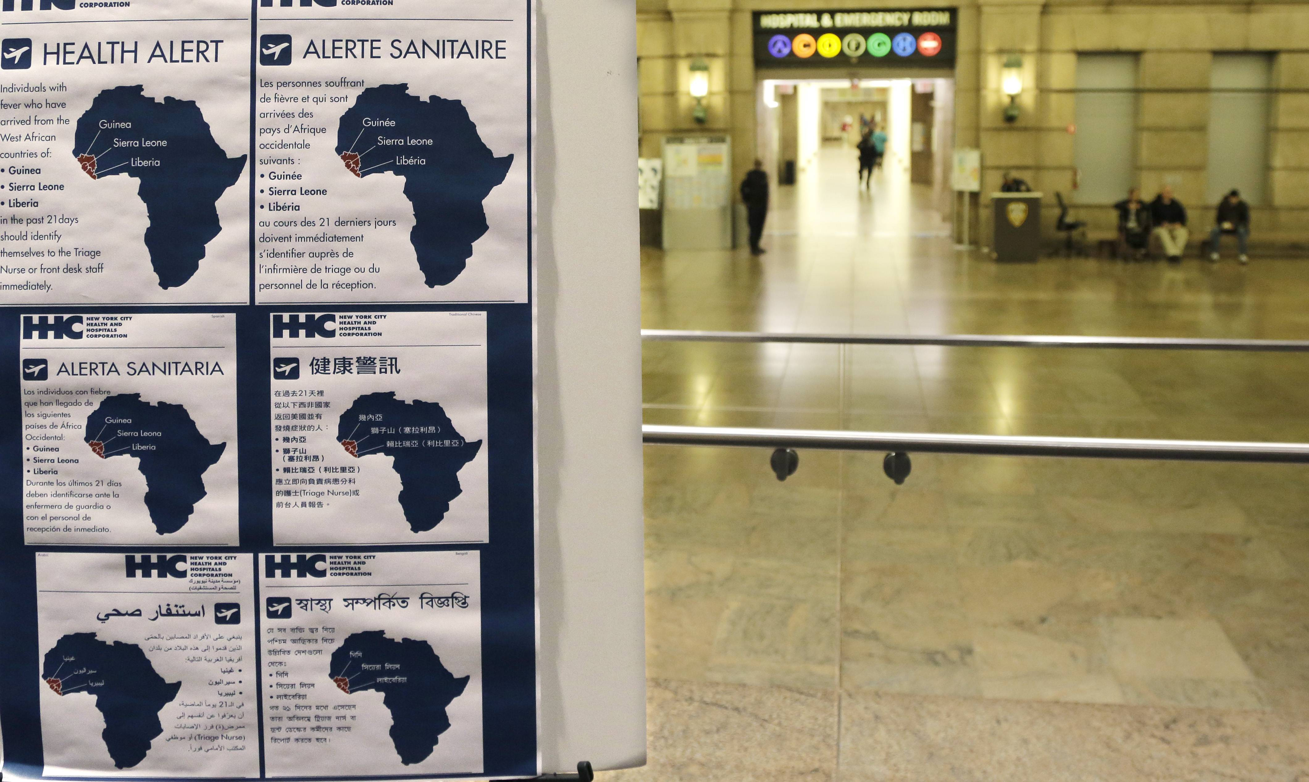 Health alerts regarding people who may have traveled to particular West African countries are posted in the lobby of Bellevue Hospital in New York. Illinois is following New York's and New Jersey's lead in implementing 21-day quarantines of anybody who's been in contact with Ebola patients while in any of three African countries.