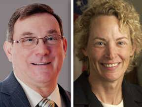 Bill Grossi, left, and Elaine Nekritz, right, are candidates for the 57th District State House seat.