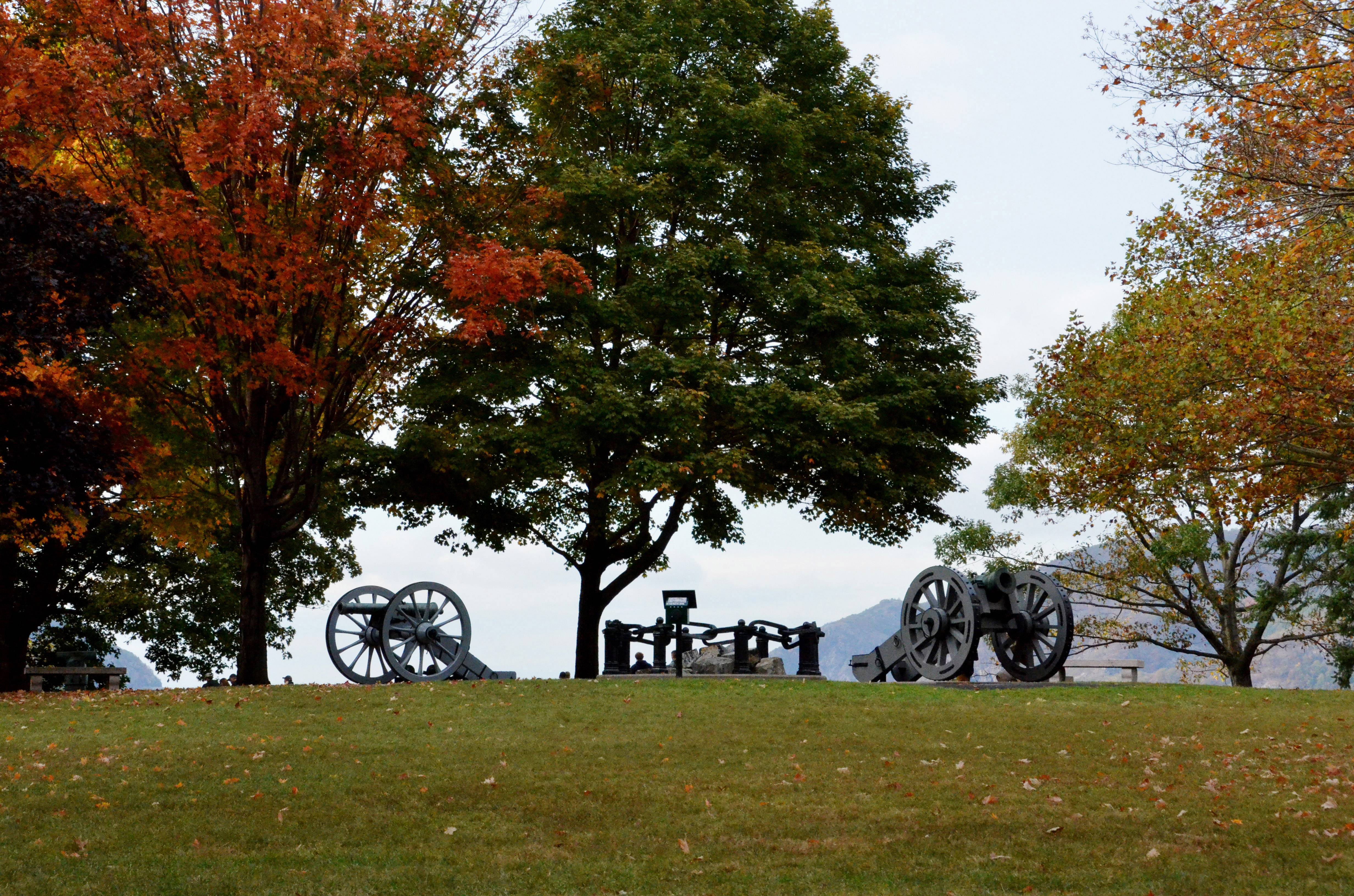 Two cannons, one on each side of the Great West Point Chain, overlooking the Hudson River on October 11 at the United States Military Academy in West Point, NY.