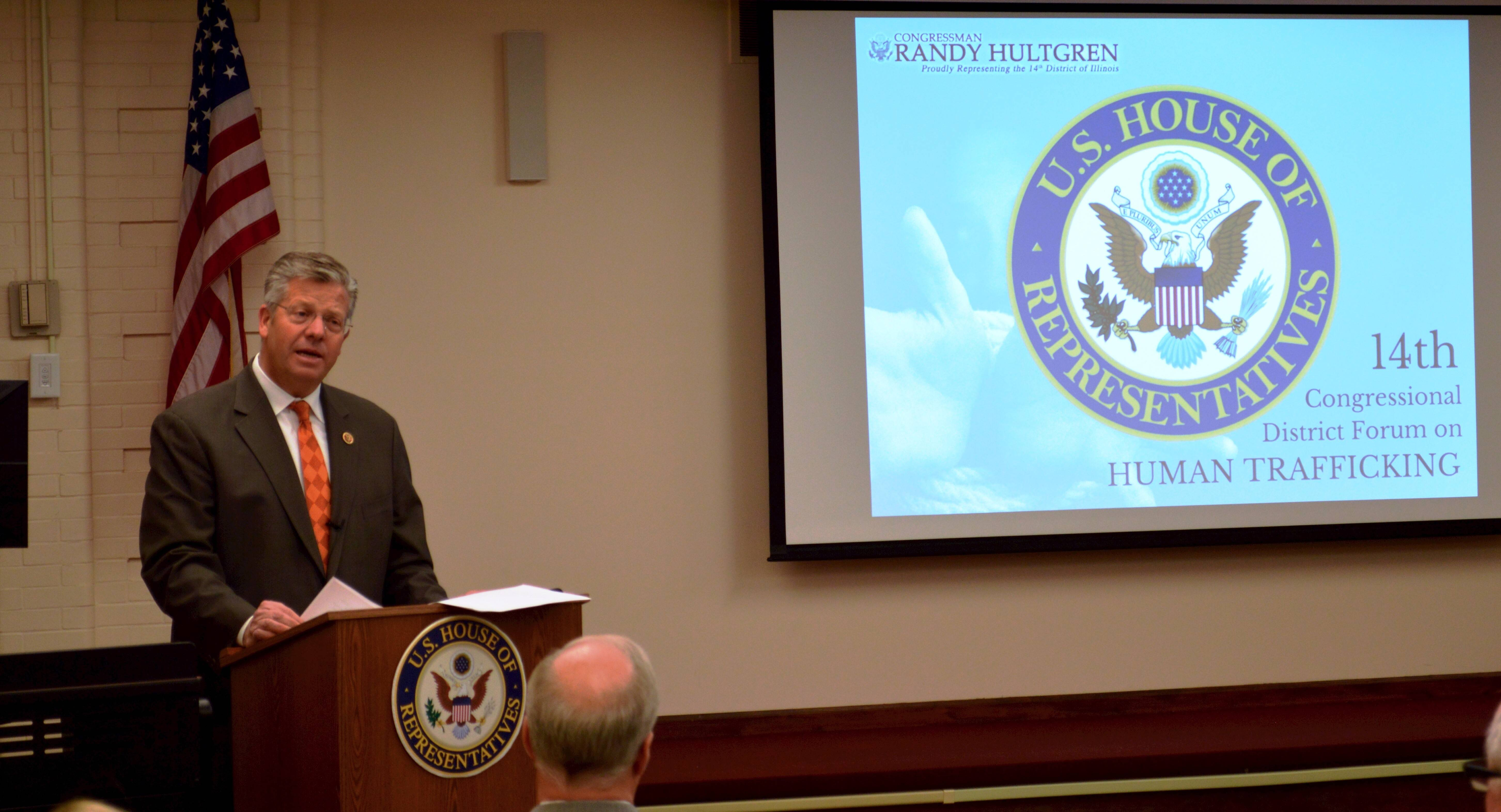 Congressman Randy Hultgren hosted a forum with local human sex trafficking experts in Geneva Thursday night. FBI and nonprofit groups called on local residents and governments to address the problem of 25,000 human sex slaves trafficked through the area each year.