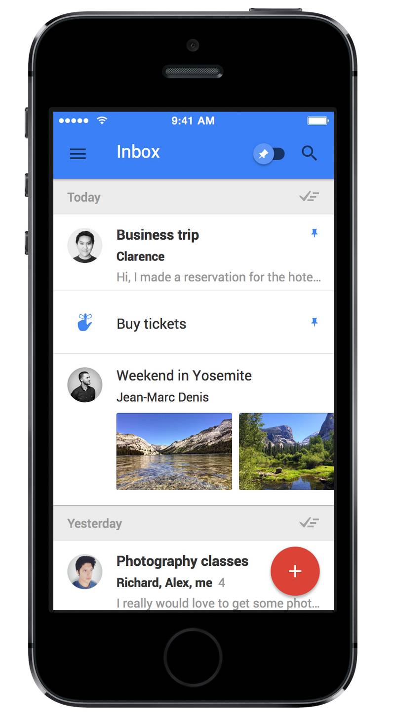 This product image provided by Google shows the iPhone version of the company's Inbox app. The application is designed to make it easier for its Gmail users to find and manage important information that can often become buried in their inboxes.