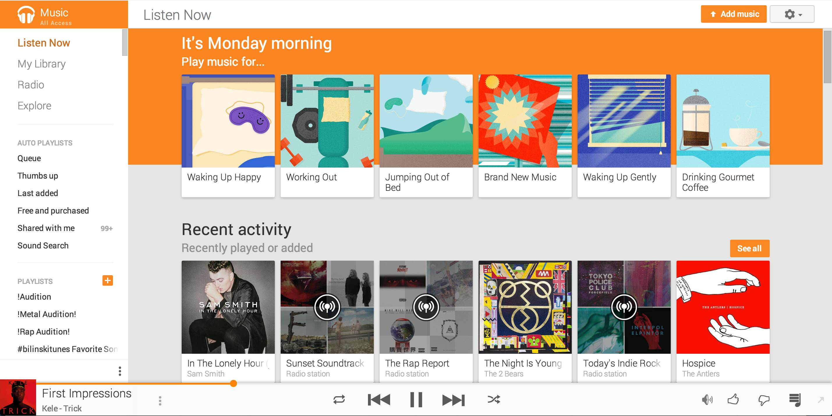 The mood music feature on the web version of Google Play. The new feature is being released Tuesday.