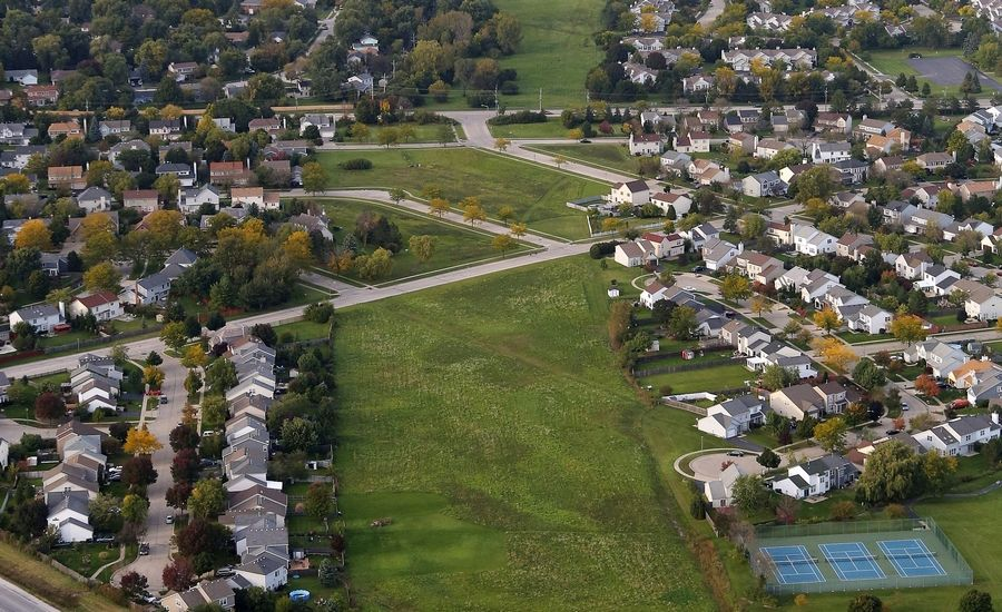 A path for a possible Route 53 extension cuts through a Mundelein subdivision just south of Hawley Street.