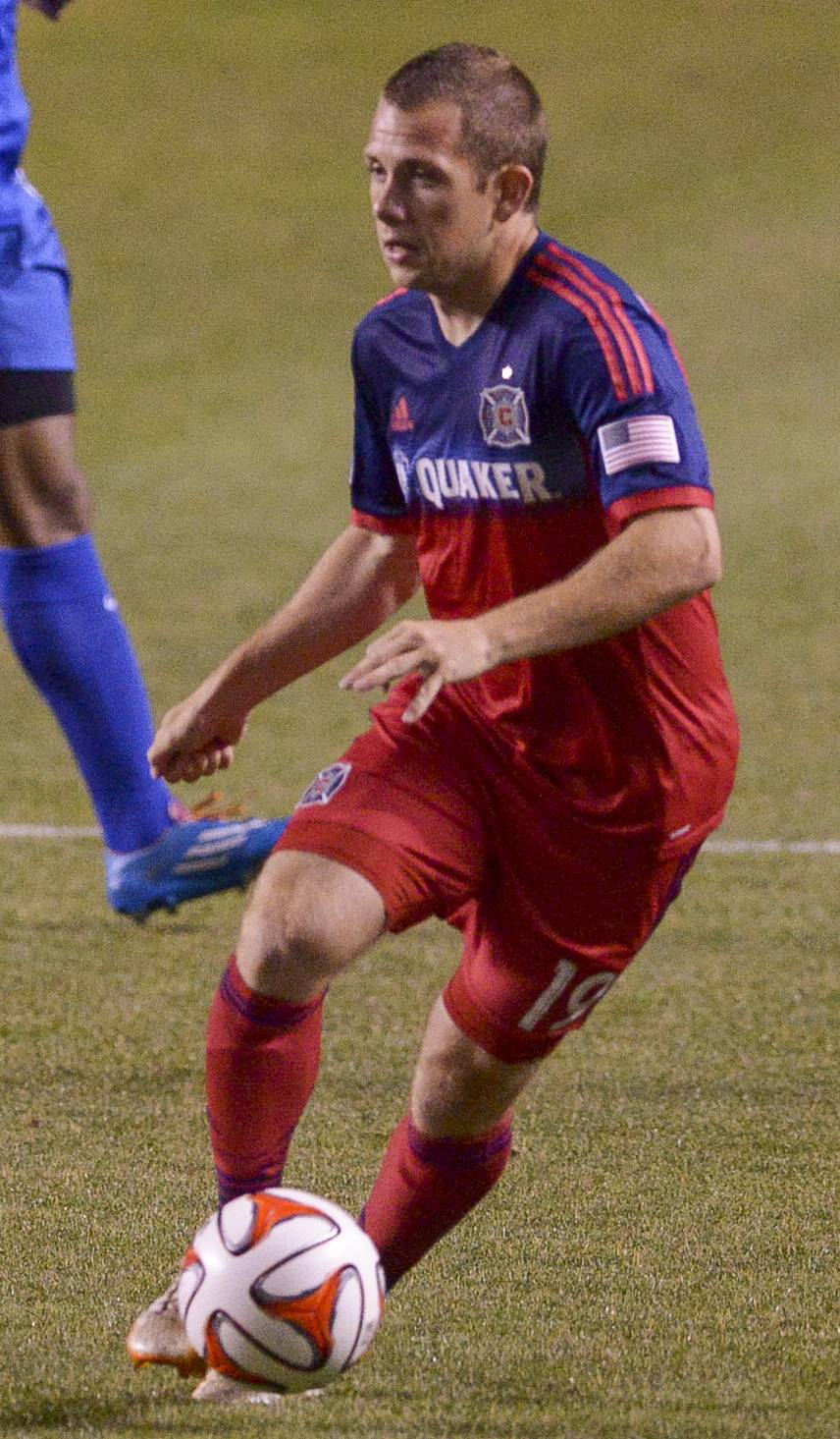 Harry Shipp of the Chicago Fire during a game against the Pittsburgh Riverhounds at Toyota Park in Bridgeview.