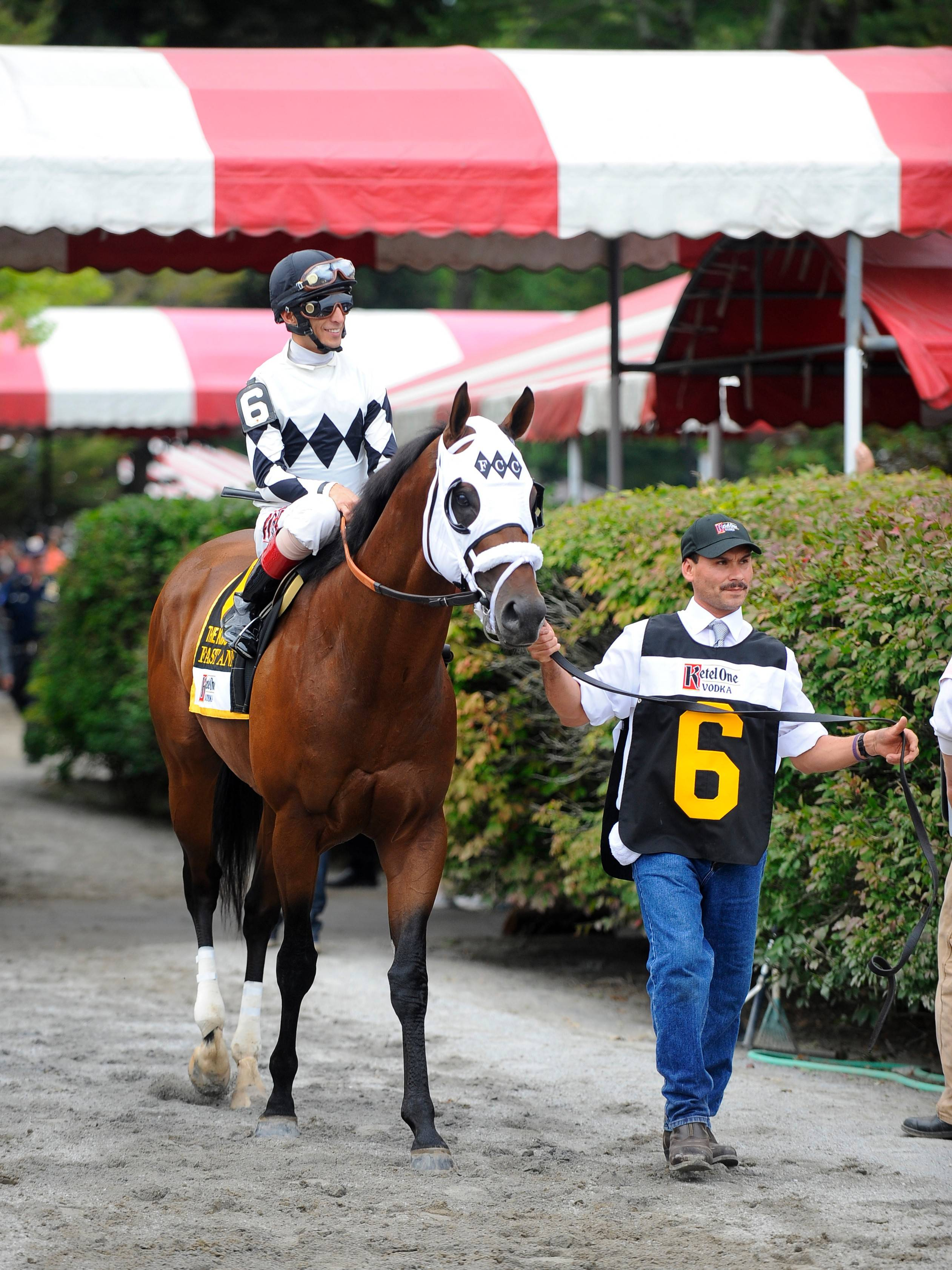 Fast Anna, shown here with jockey John Velazquez at Saratoga last August, will represent local owner Frank Calabrese in the Breeders' Cup Sprint on Saturday.