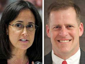 Lisa Madigan, left, and Paul Schimpf, right, are candidates for Illinois Attorney General in the 2014 general election.