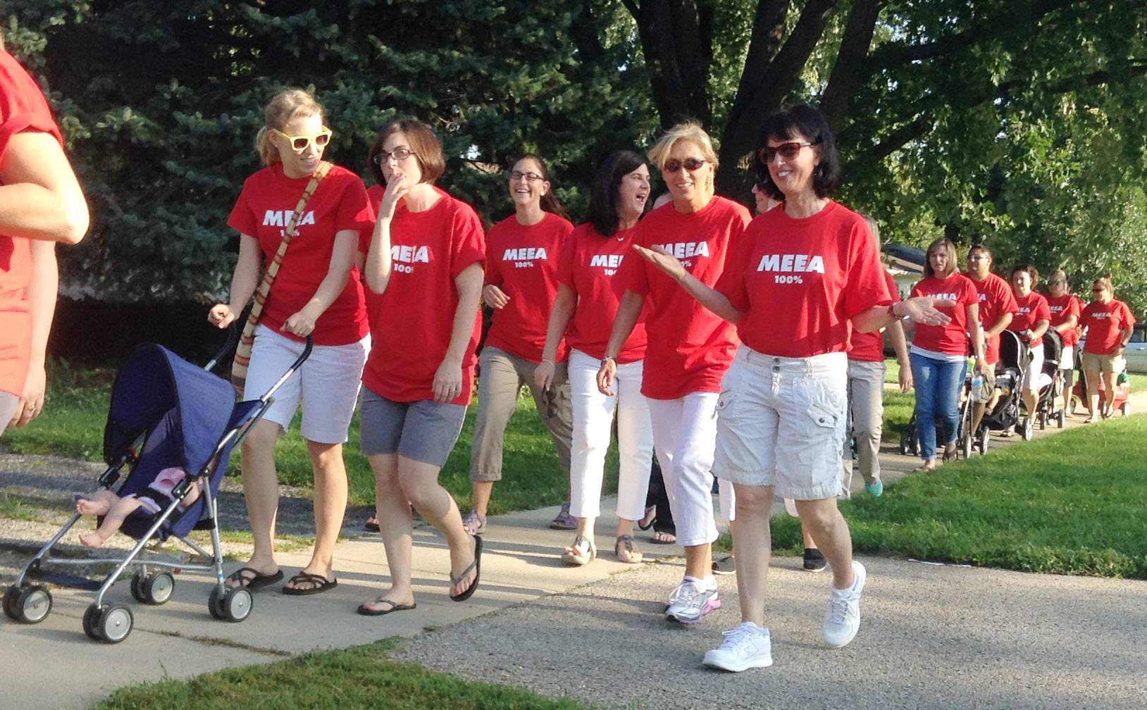 Mundelein School District 75 teachers held a rally including a walk to the district office in early September.