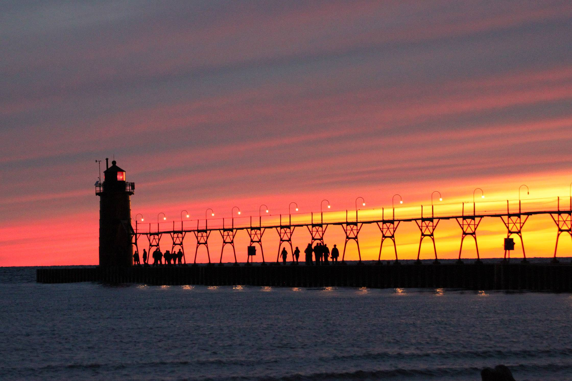 October sunset in South Haven, Michigan.