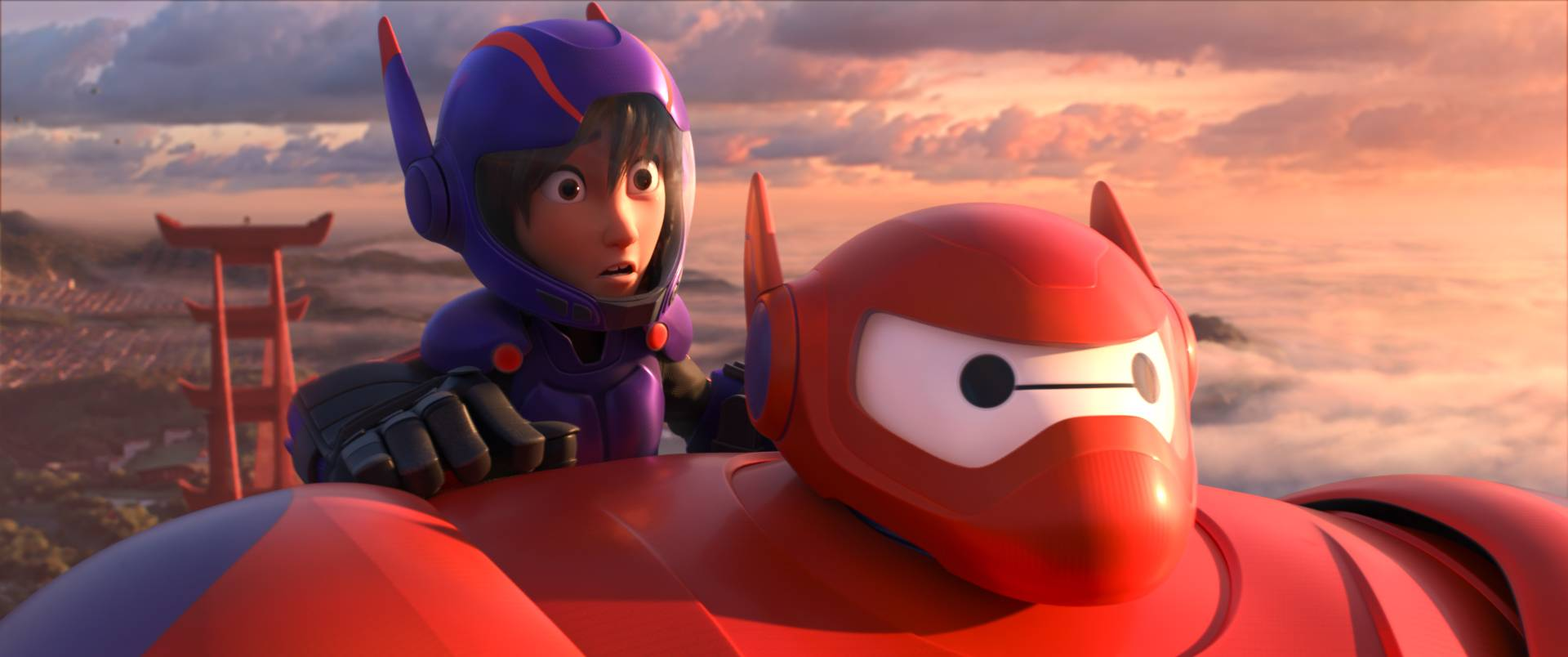 "Animated characters Hiro Hamada, voiced by Ryan Potter, left, and Baymax, voiced by Scott Adsit, in a scene from ""Big Hero 6,"" which debuted at No. 1 at the box office with a $56 million haul."
