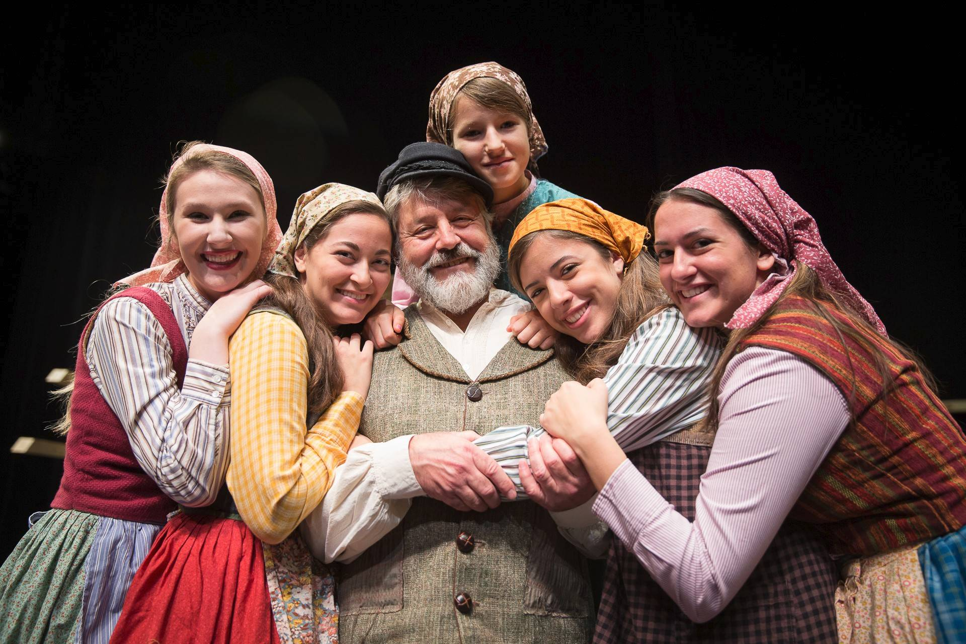 Tevye and his daughters, from left: Abigail Bjork of Sleepy Hollow; Amanda Torres, Rolling Meadows; Iva Galic, Des Plaines; Alyssa Michelle Peterson, Hoffman Estates and Becca Hess, Park Ridge.