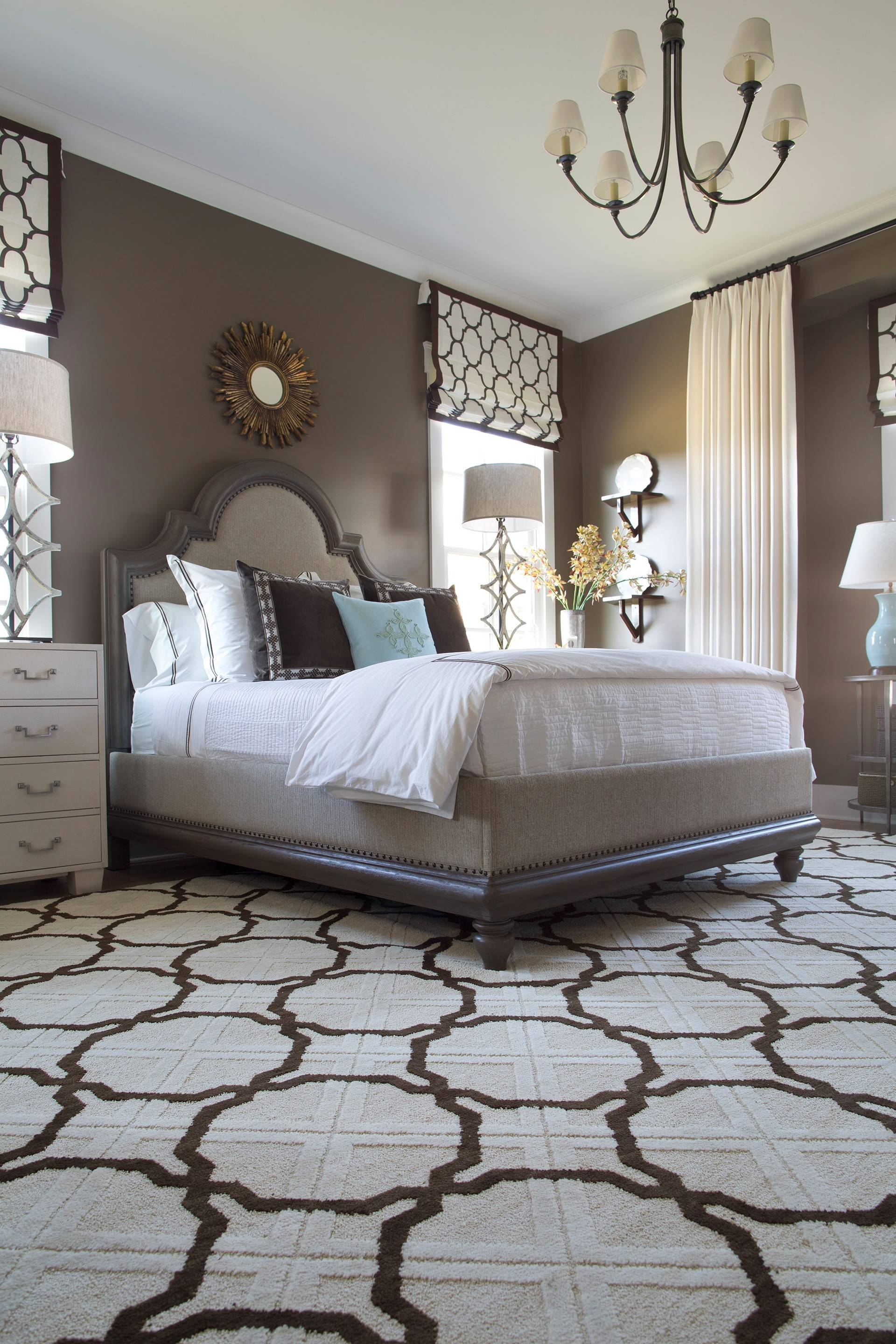Gray is an especially popular color this year in rugs and carpeting. It's shown here in Essex Trellis from Shaw Industries.