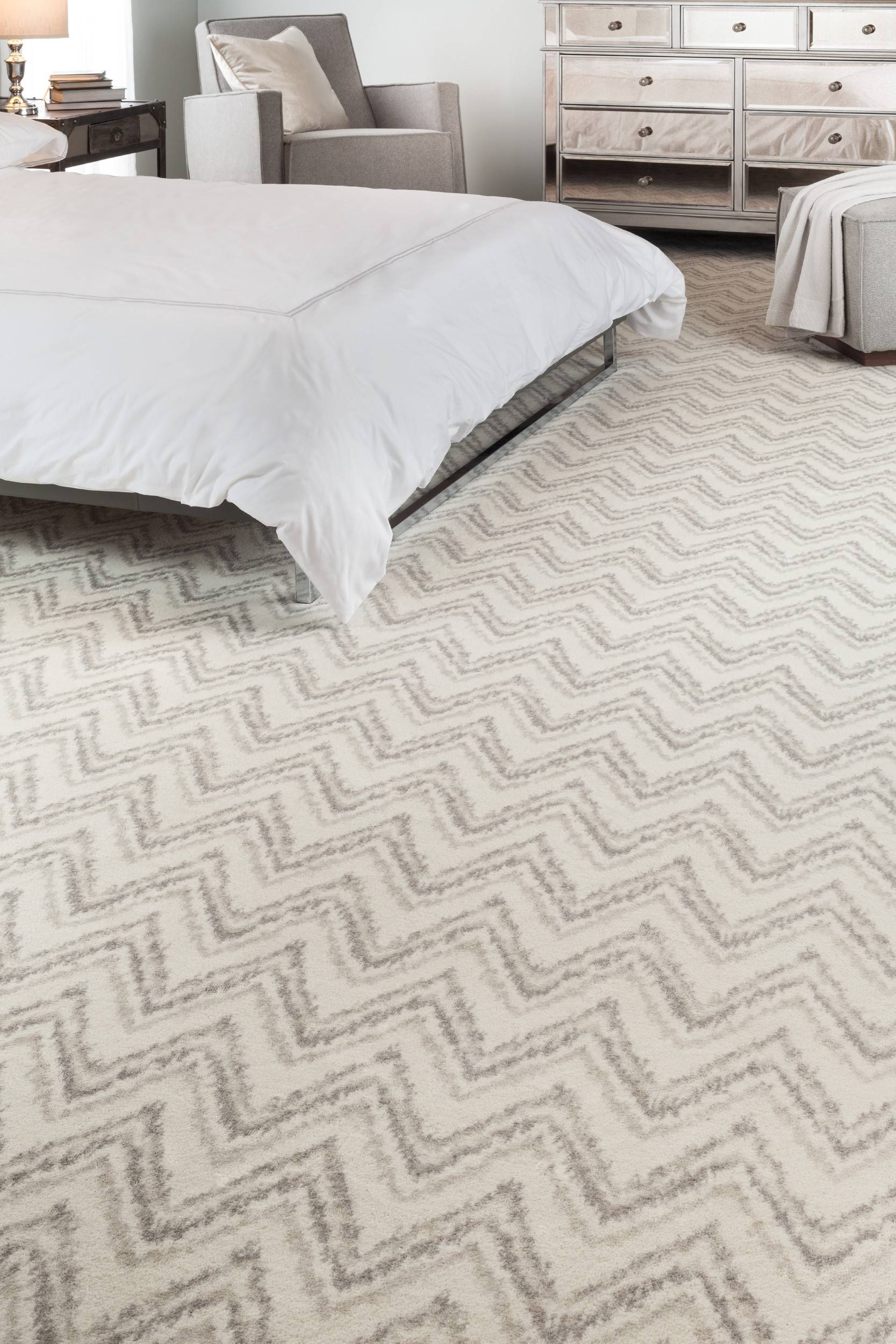 Milliken's Vibrato is a printed carpet with a zig-zag pattern.