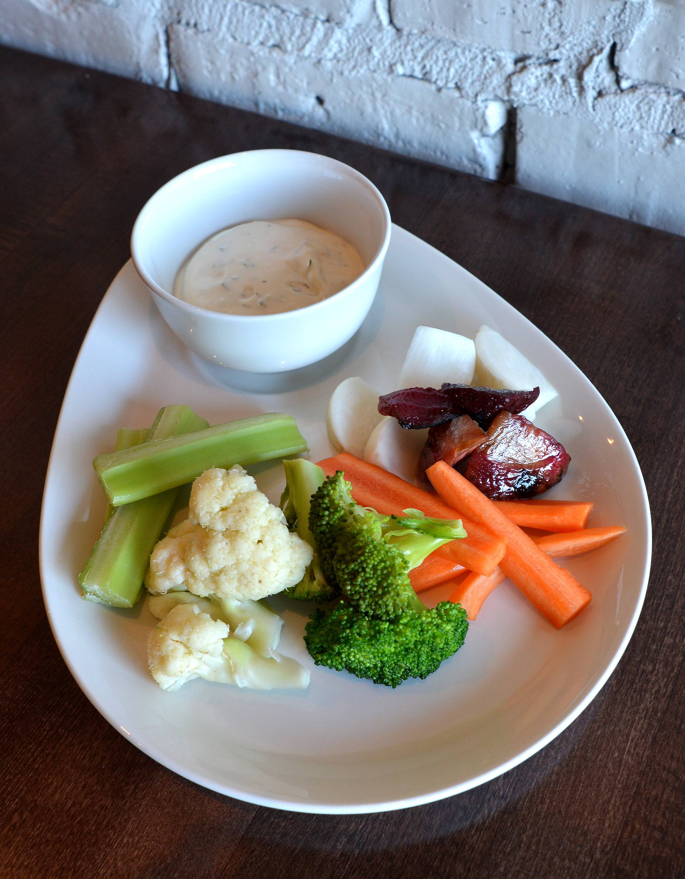 The family-friendly Vistro features simple, fresh selections -- including seasonal vegetables with house ranch dressing.