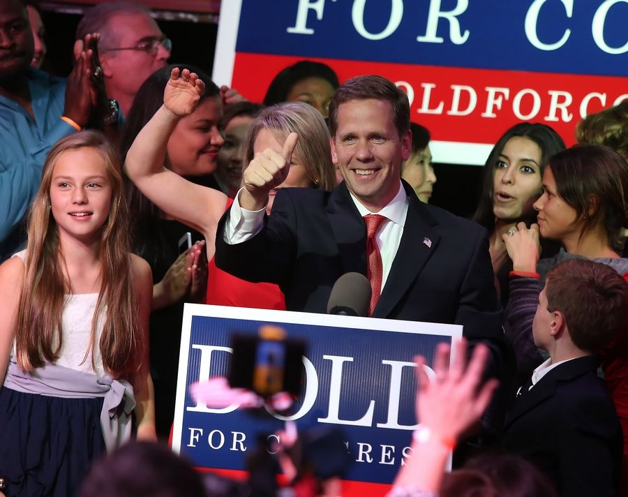 Republican candidate Bob Dold gives a victory speech after winning the hotly contested 10th Congressional seat.