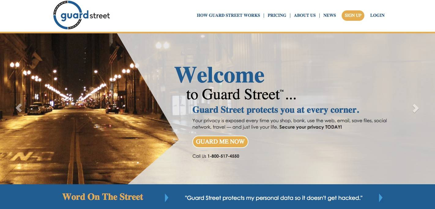 This is a screen shot of Guard Street's website.