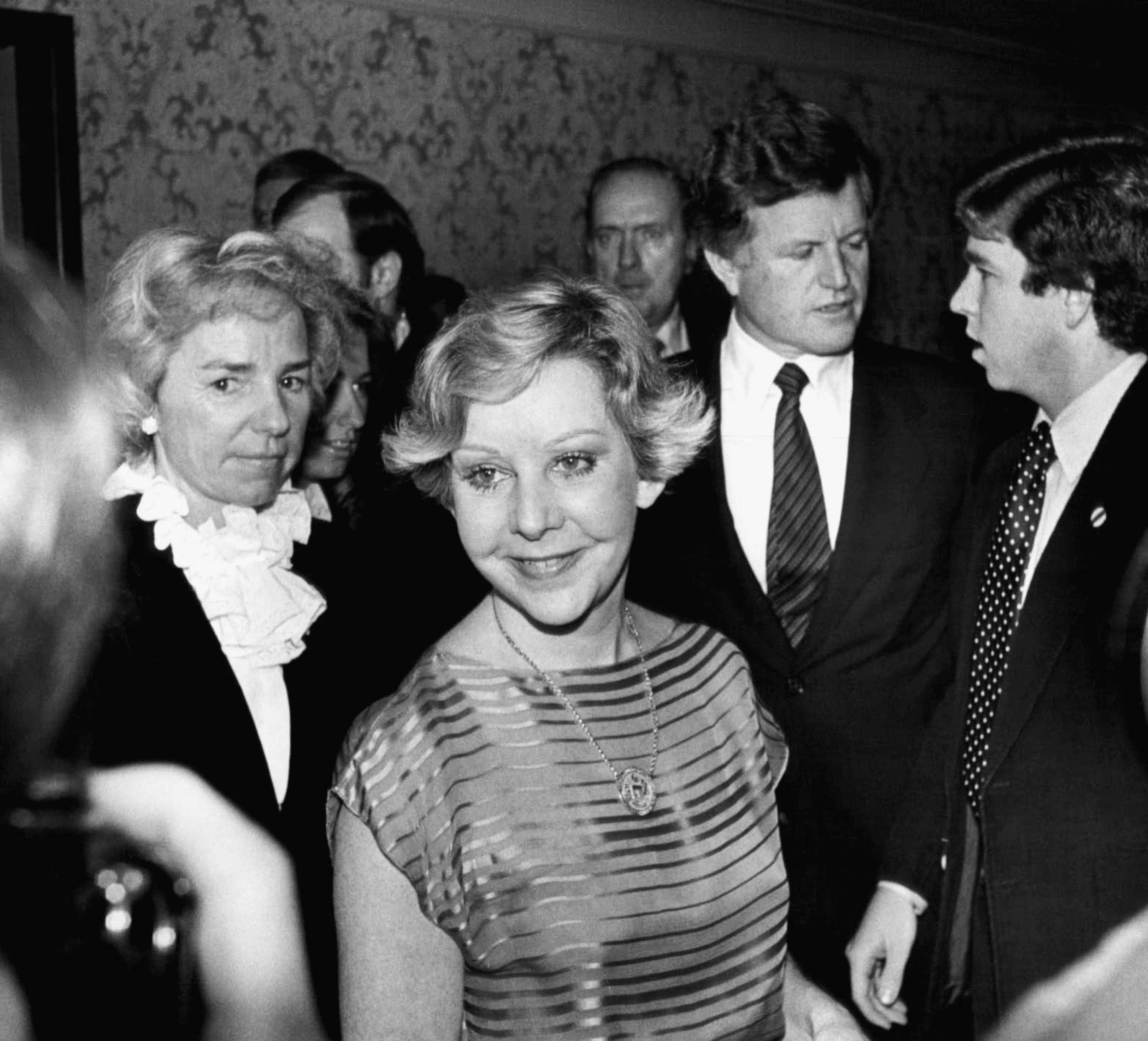 Chicago Mayor Jane Byrne attended a dinner Dec. 10, 1979, in Chicago for presidential candidate Sen. Edward M. Kennedy. Ethel Kennedy, left, Sen. Edward Kennedy, and the senator's aides entered with the mayor.