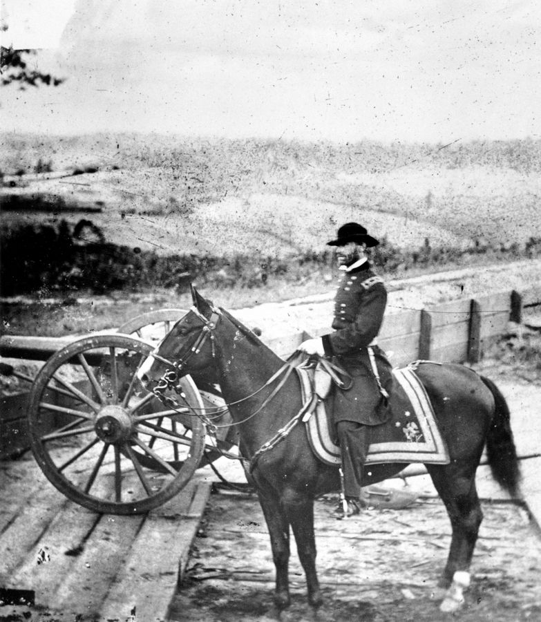 Gen. William T. Sherman inspects battlements in Atlanta during the American Civil War. On Nov. 16, 1864, Sherman watched his army pull out of Atlanta, and marched with 62,000 veteran troops to the Atlantic coast at Savannah, conquering territory and making a point to the enemy in what would be known as Sherman's March to the Sea.