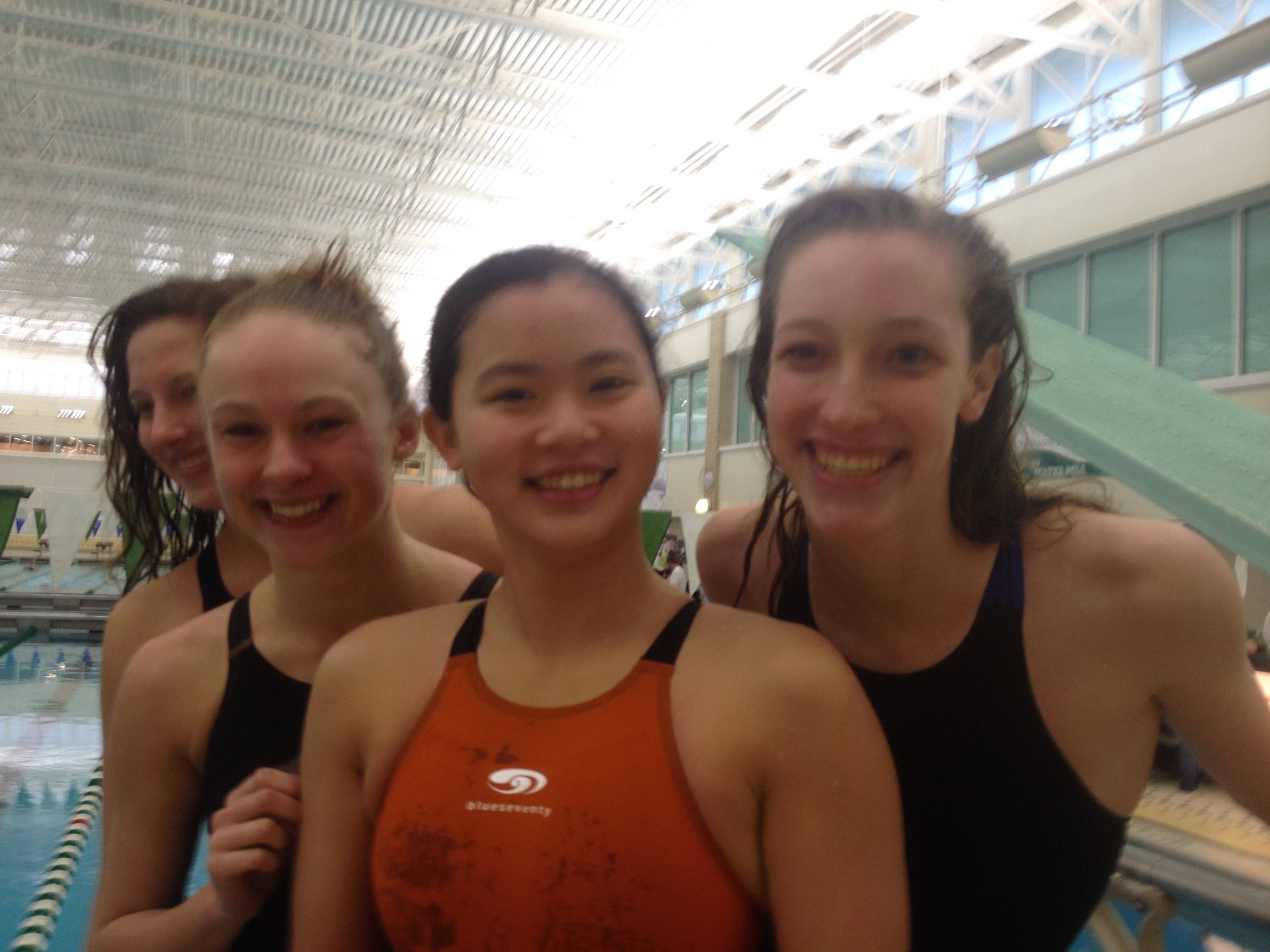 From right, Palatine's state-qualifying 200-yard freestyle relay team of Kristin Anderson, Lily Zahn, Kelsey Hank and Tess O'Brien.