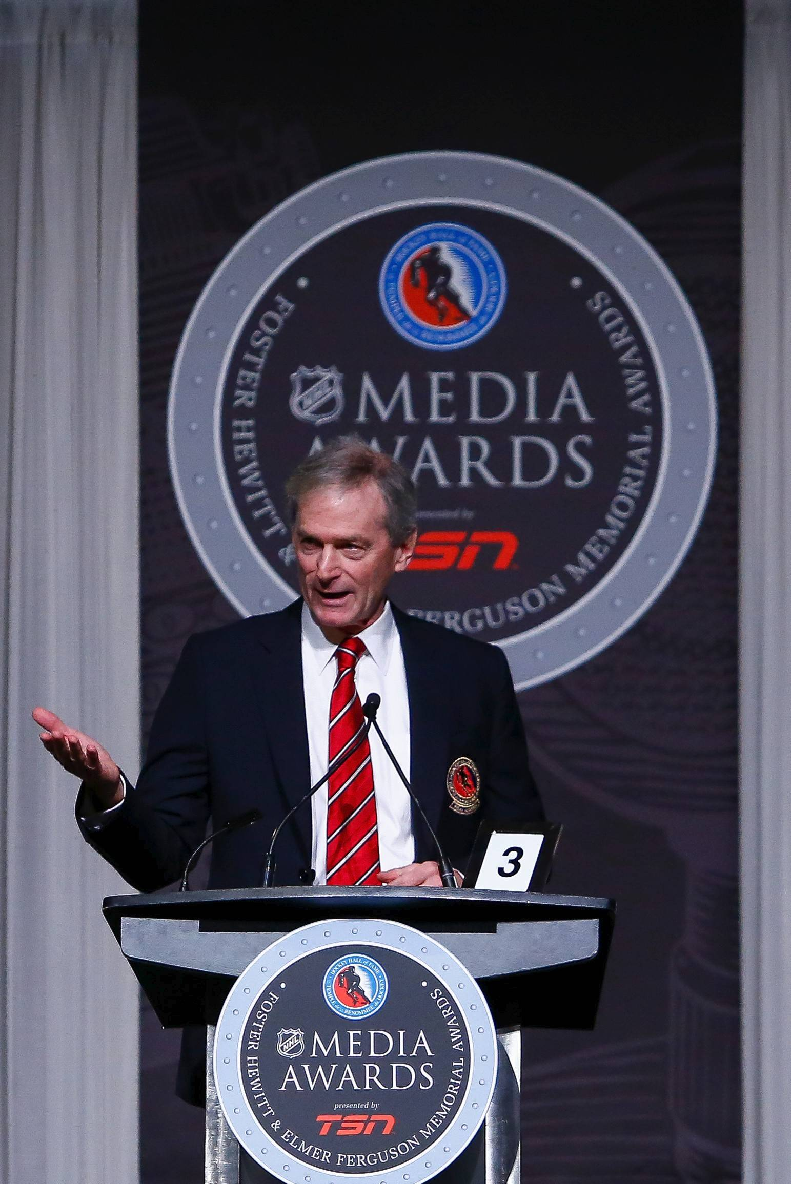 Blackhawks play-by-play man Pat Foley gives his Hall of Fame speech Monday after being inducted at Toronto.
