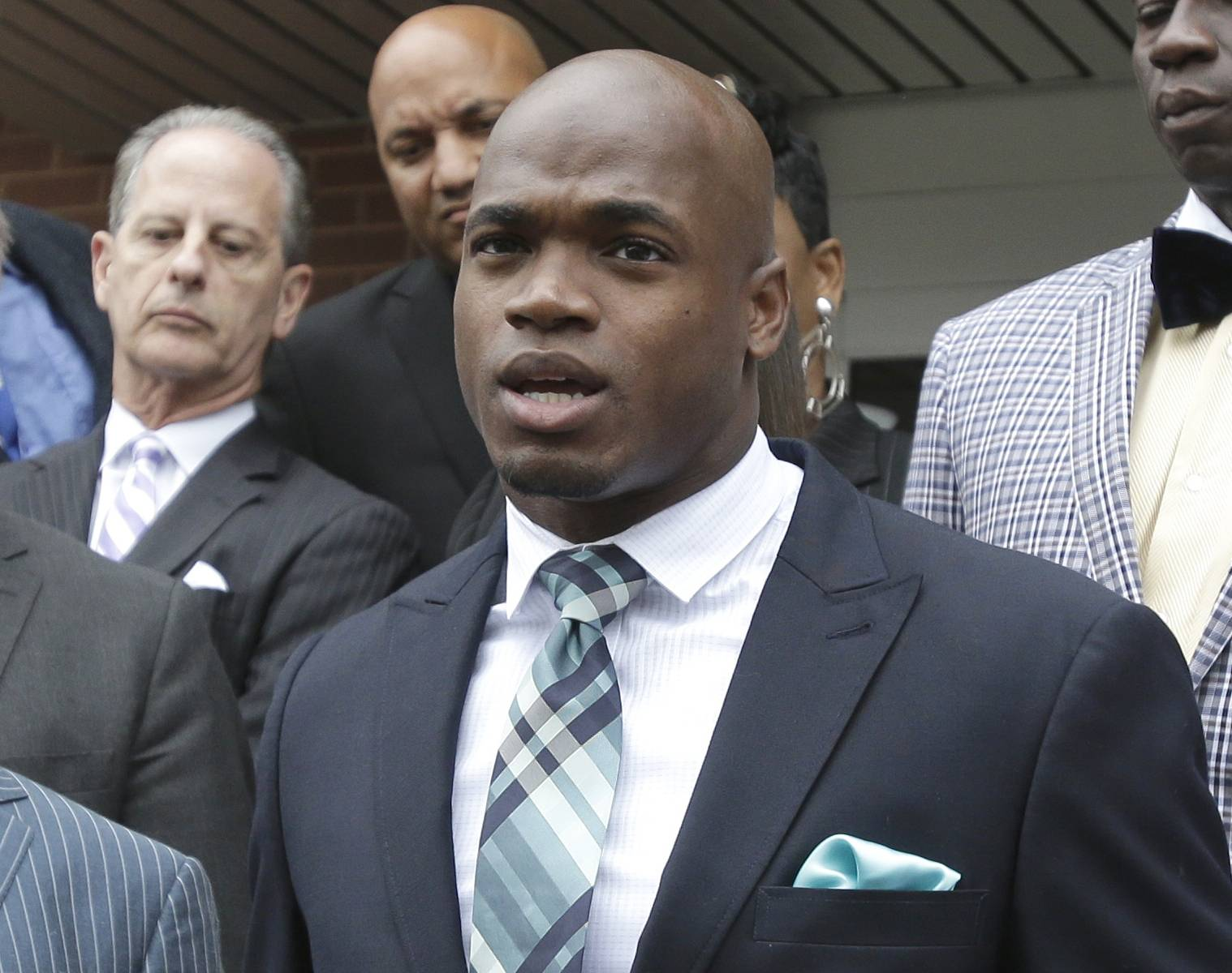 The NFL suspended Adrian Peterson without pay for at least the remainder of the season. The league said Tuesday, Nov. 18, 2014, it informed the Minnesota Vikings running back he will not be considered for reinstatement before April 15 for violating the NFL personal conduct policy.