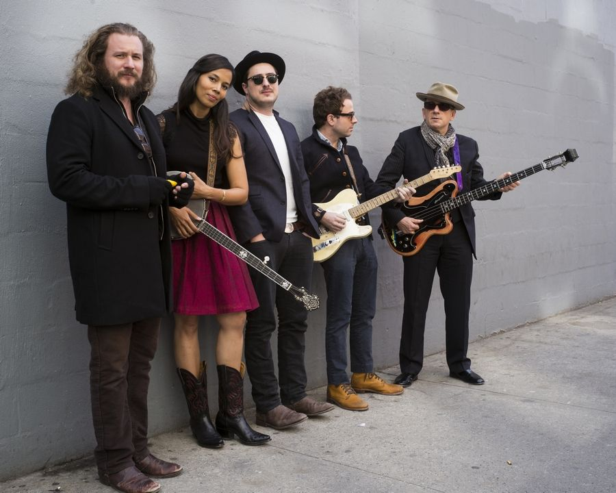 "Drew Gurian/Invision/APFrom left, Jim James, Rhiannon Giddens, Marcus Mumford, Taylor Goldsmith and Elvis Costello all are part of ""Lost on the River: The New Basement Tapes,"" an album produced by T Bone Burnett and created by the musicians using lyrics written by Bob Dylan for the legendary ""basement tapes"" recordings."