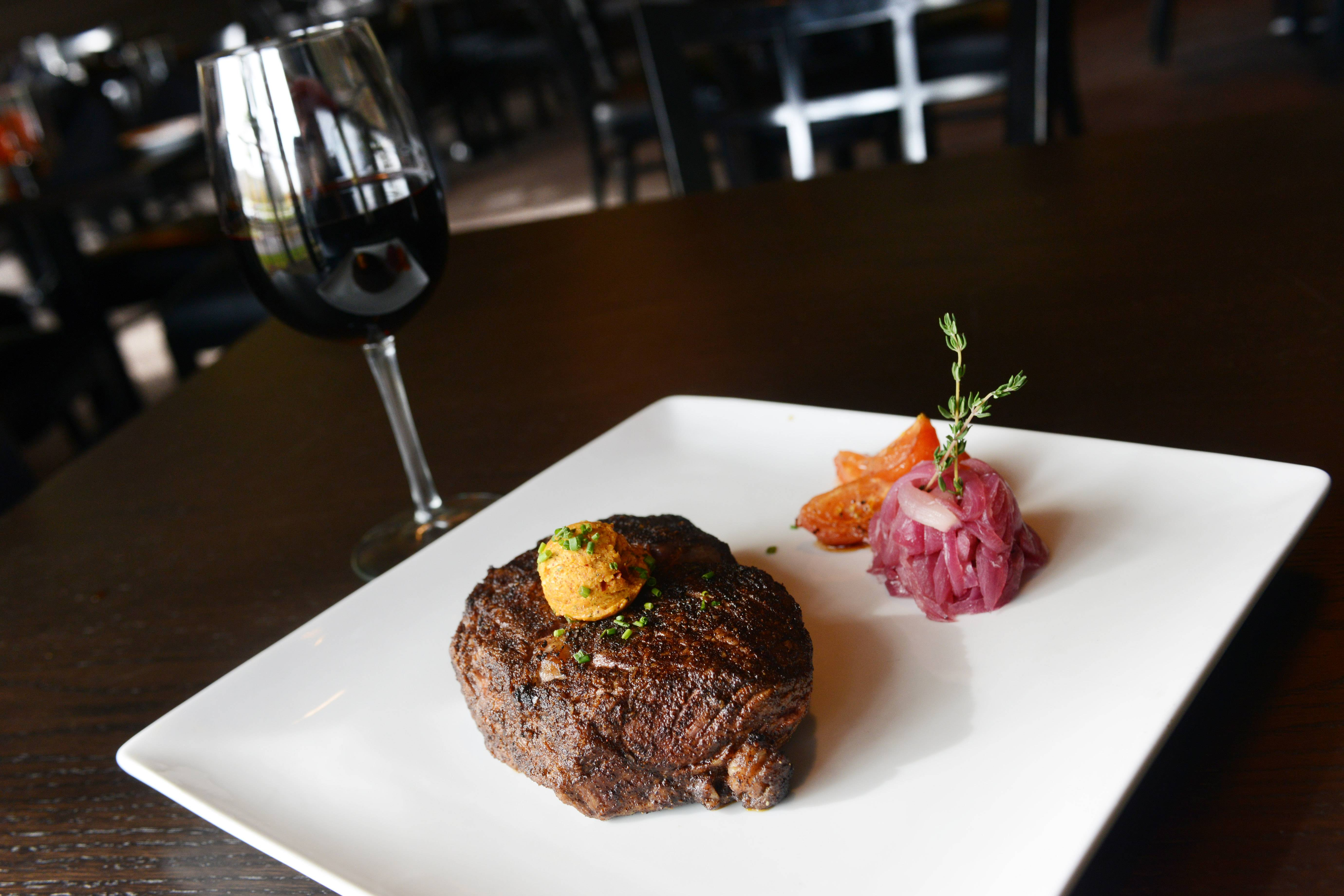Coffee-rubbed Delmonico steak is one of the many cuts of beef served at Ditka's Restaurant in Arlington Heights.