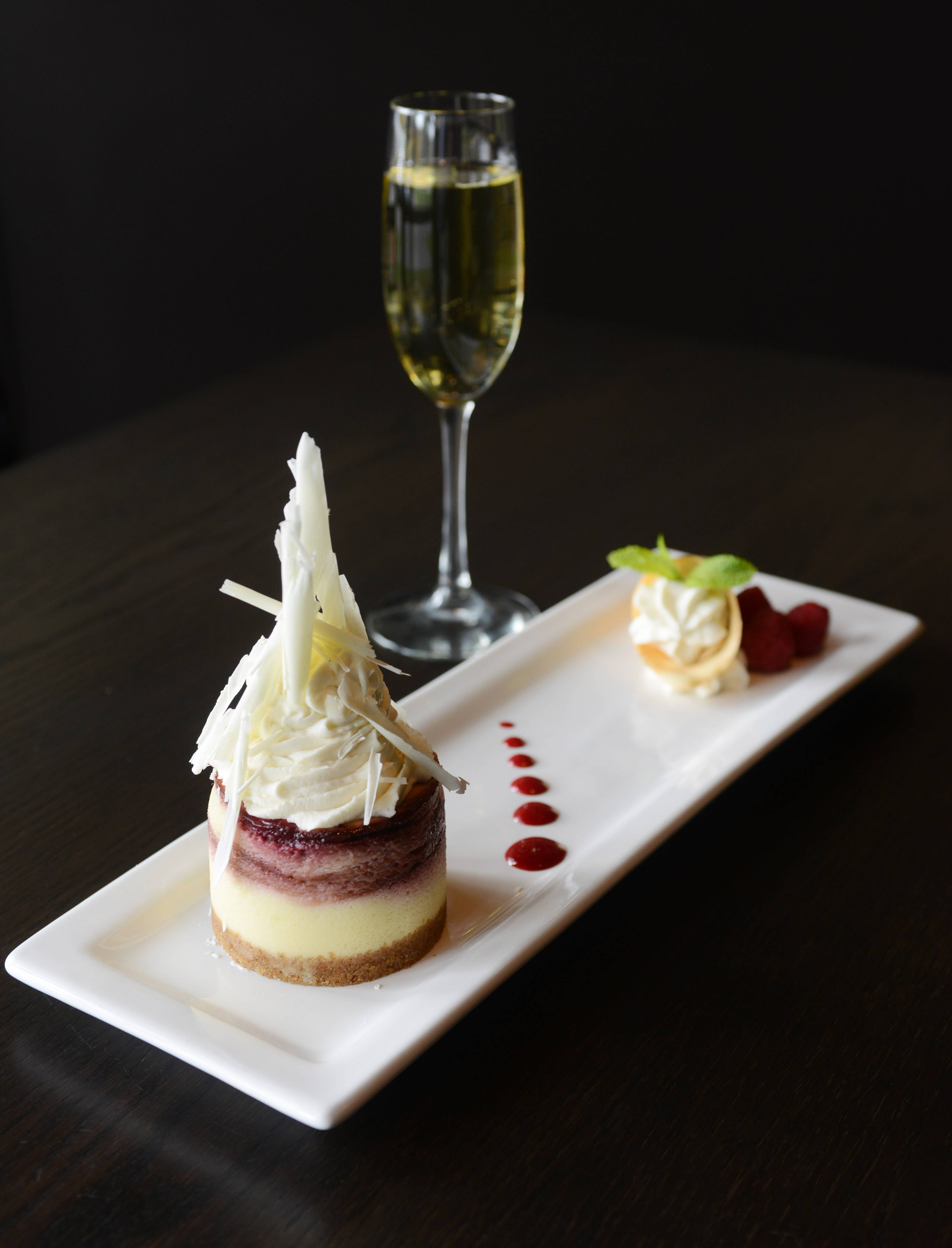 Grab a fork and enjoy a few bites of raspberry cheesecake before wrapping up a meal at Ditka's Restaurant in Arlington Heights.