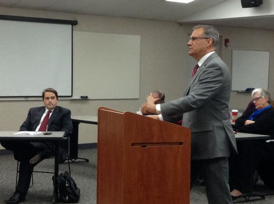 Karl Ottosen, an attorney for Carol Stream Fire Protection District Fire Chief Richard Kolomay, speaks at Wednesday's hearing for Battalion Chief Joseph Gilles.