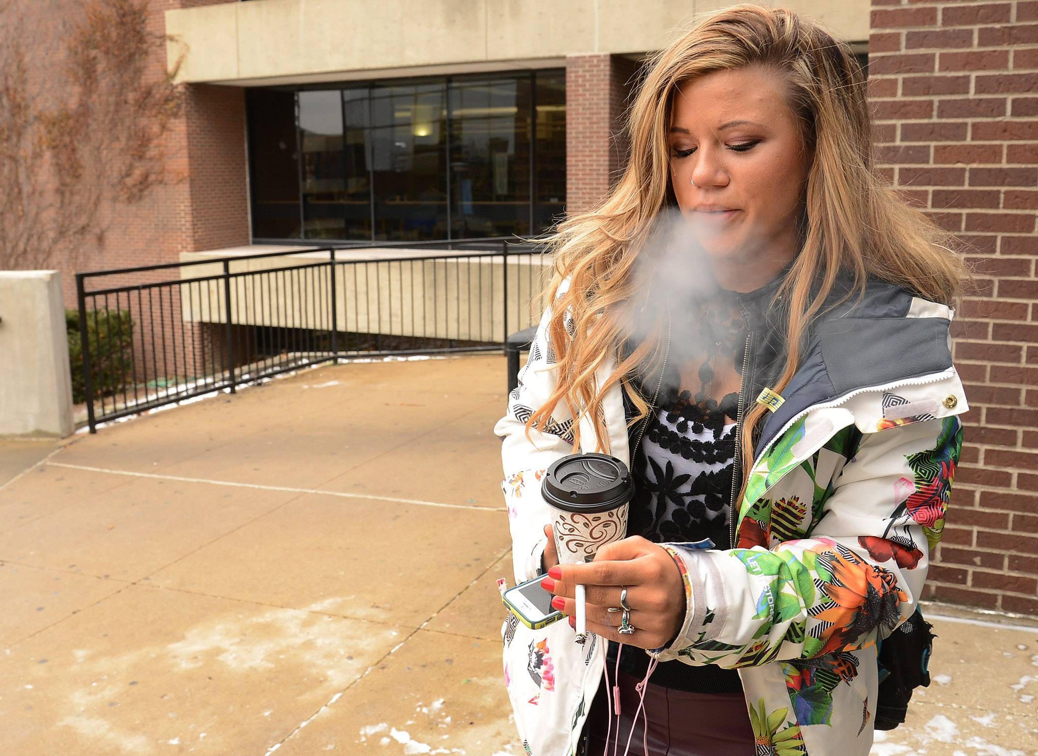 """I don't like the smoking ban at Harper,"" said Kildeer student Tara Kerrigan. ""I think it should be our choice to be allowed to smoke and have designated smoking areas."""