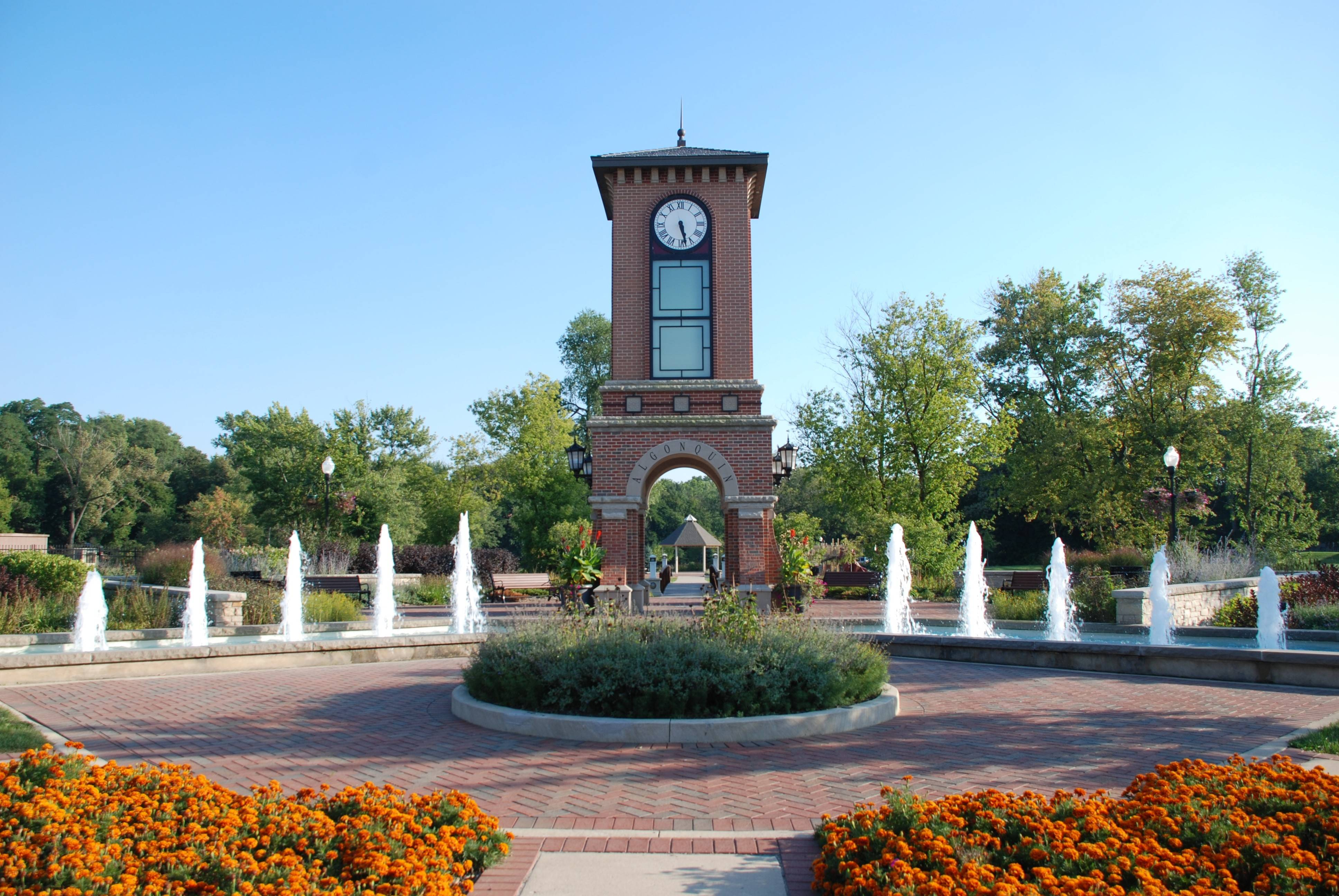 Come July, Algonquin residents will see a spike in their telephone and Internet service bills. The village board this week approved a 60 percent increase to the telecommunications tax to help fund park improvements, such as playground maintenance, trails, bike paths and other infrastructure upgrades. Pictured here is the Cornish Park clock tower, located along the Fox River at 101 S. Harrison St., in downtown Algonquin that was completed in 2006.