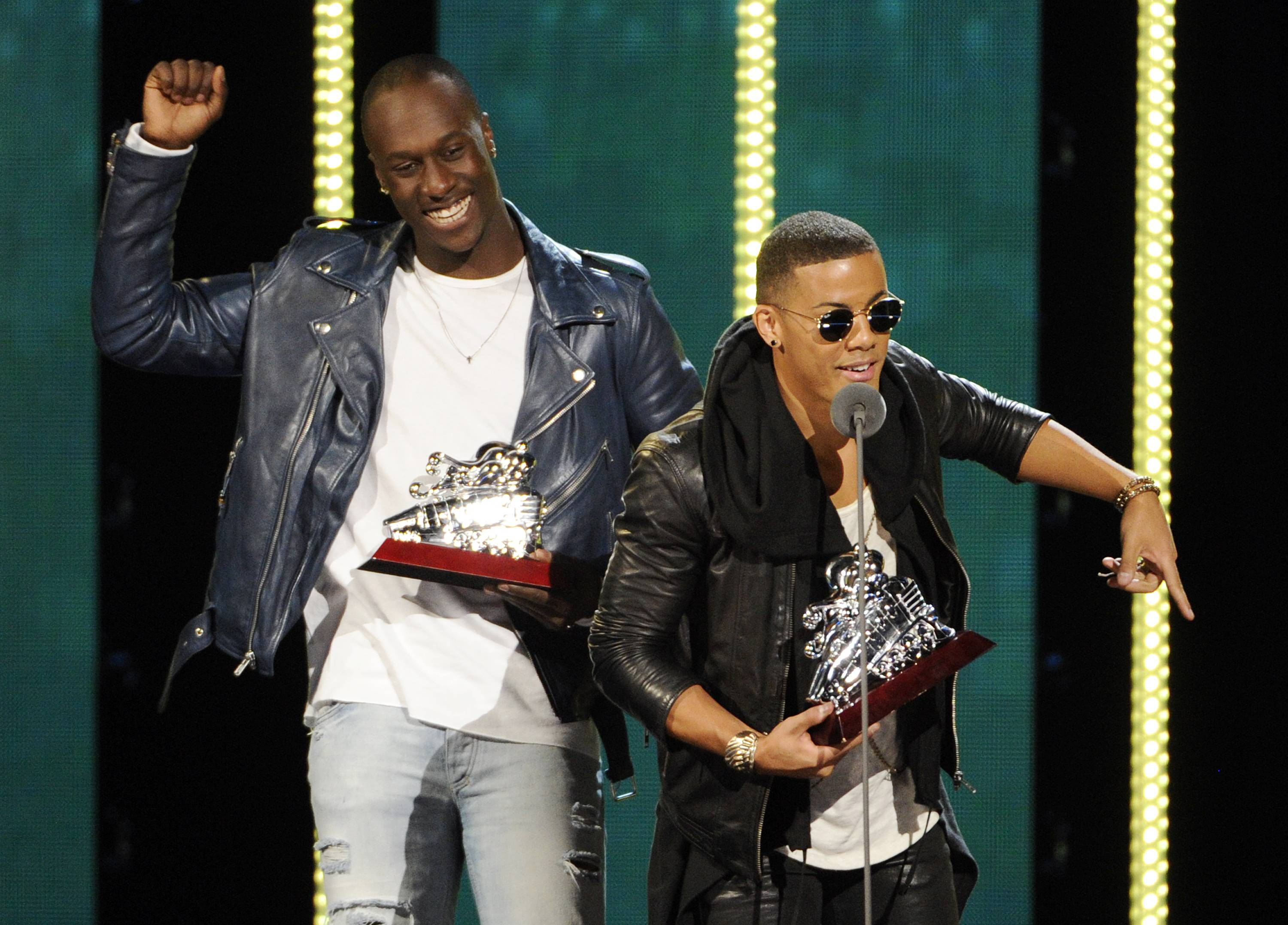 Norwegian singing-songwriting duo Nico, right, and Vinz accept the Best New Artist award during the 2014 Soul Train Awards at Orleans Arena on Nov. 7 in Las Vegas.
