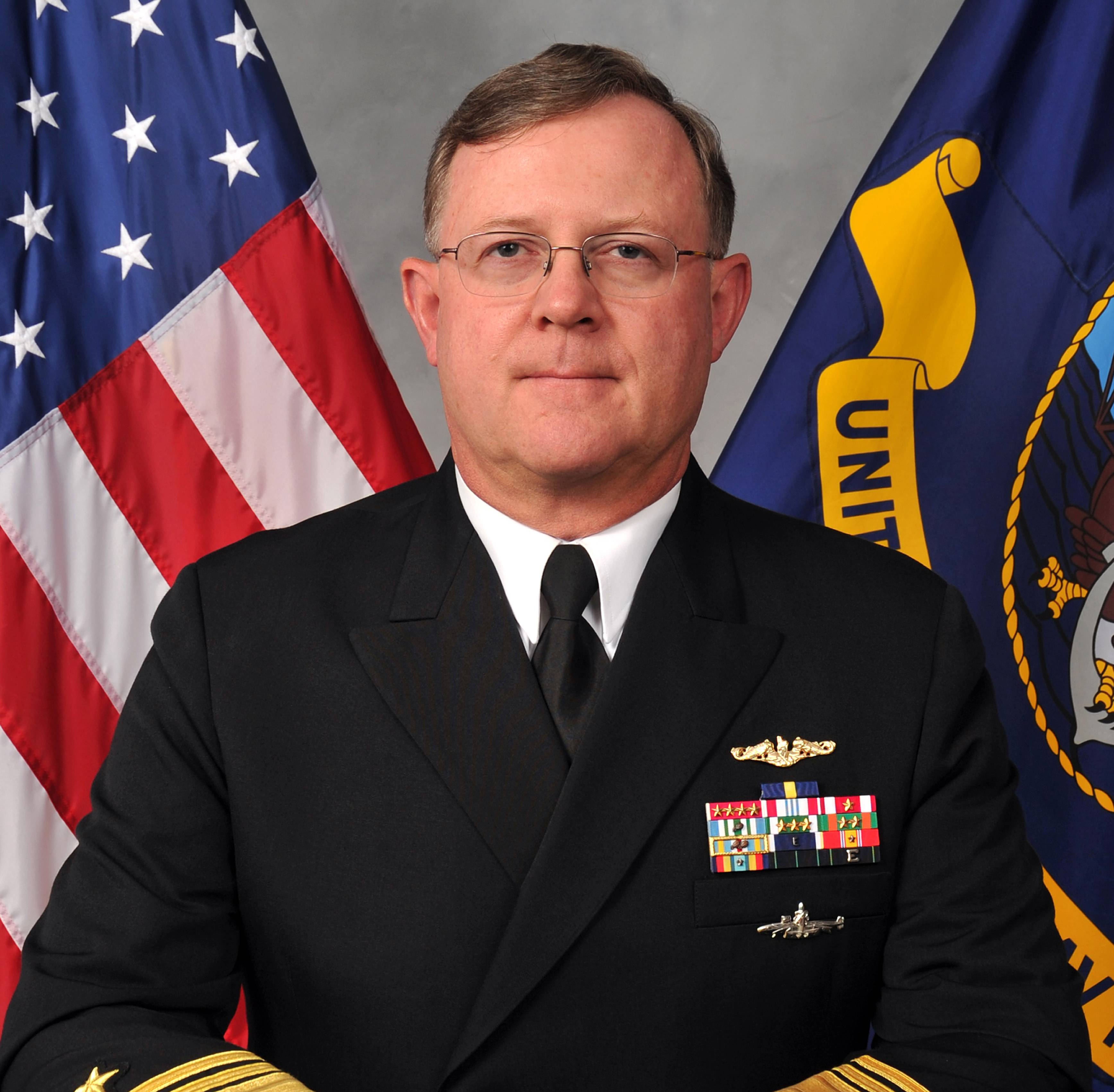 Navy Vice Adm. Tim Giardina in a Nov. 11, 2011, photo. Giardina, fired last year as No. 2 commander of U.S. nuclear forces, may have made his own counterfeit $500 poker chips with paint and stickers to feed a gambling habit that eventually saw him banned from an entire network of casinos, according to a criminal investigative report.