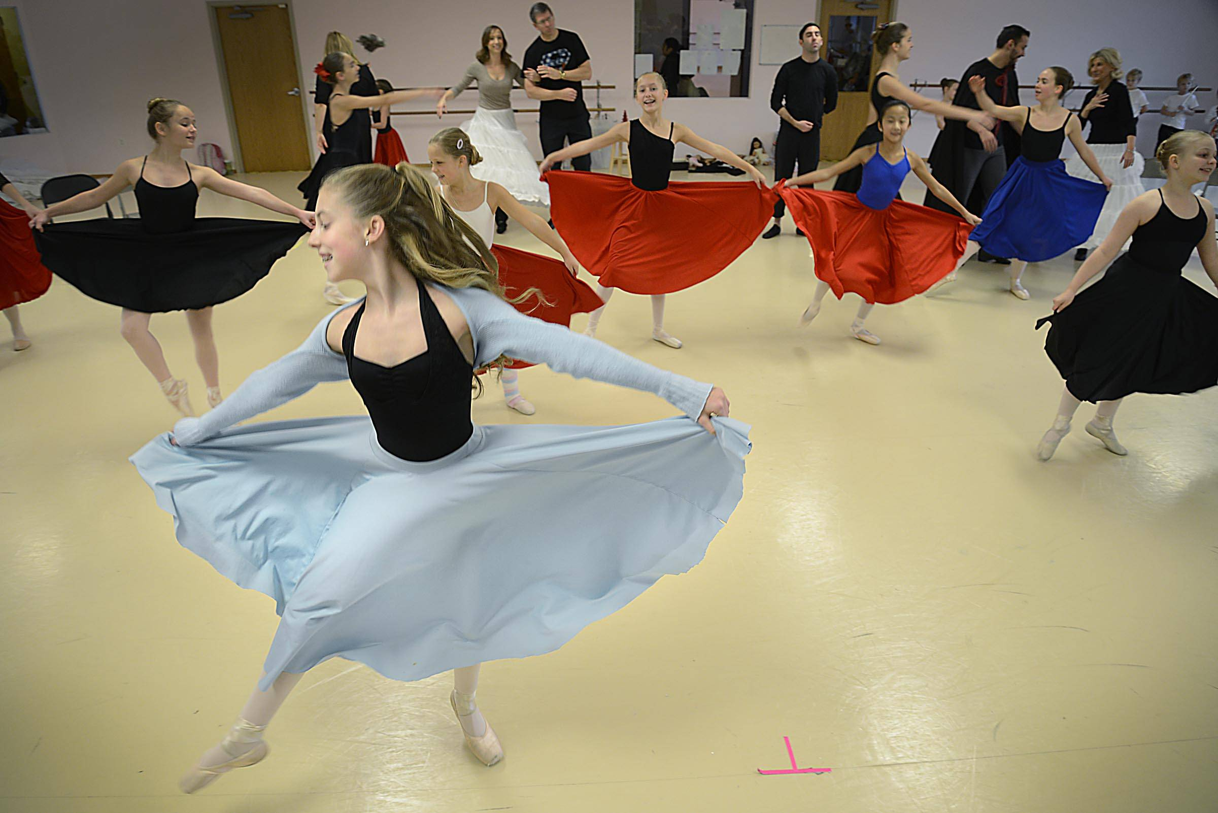 "Maecy Ashmore, 12, rehearses for the holiday performance of ""The Nutcracker,"" Sunday at the State street Dance Studio in Geneva. She has a lead role."