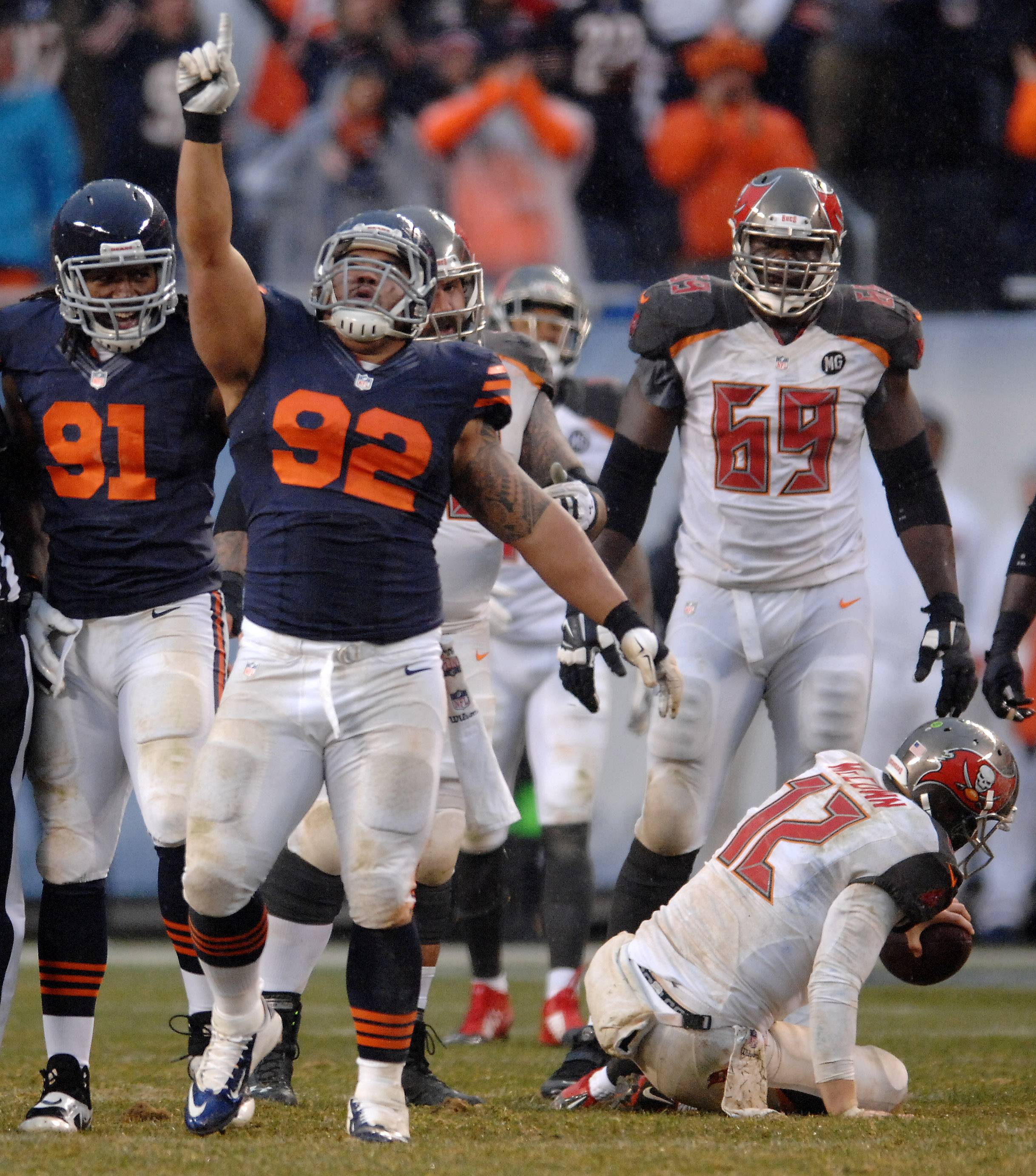 Bears defensive tackle Stephen Paea celebrates 1 of his 2 sacks against the Bucs in Sunday's 21-13 win at Soldier Field.