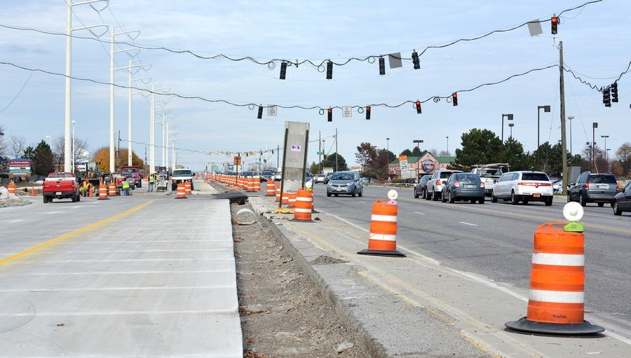 Construction along Route 59 in Naperville and Aurora will take the day off for Thanksgiving, with work wrapping up about 3 p.m. Wednesday. Construction just north of Diehl Road is scheduled to begin again Friday, but work in most of the construction zone will not resume until Monday, Dec. 1.