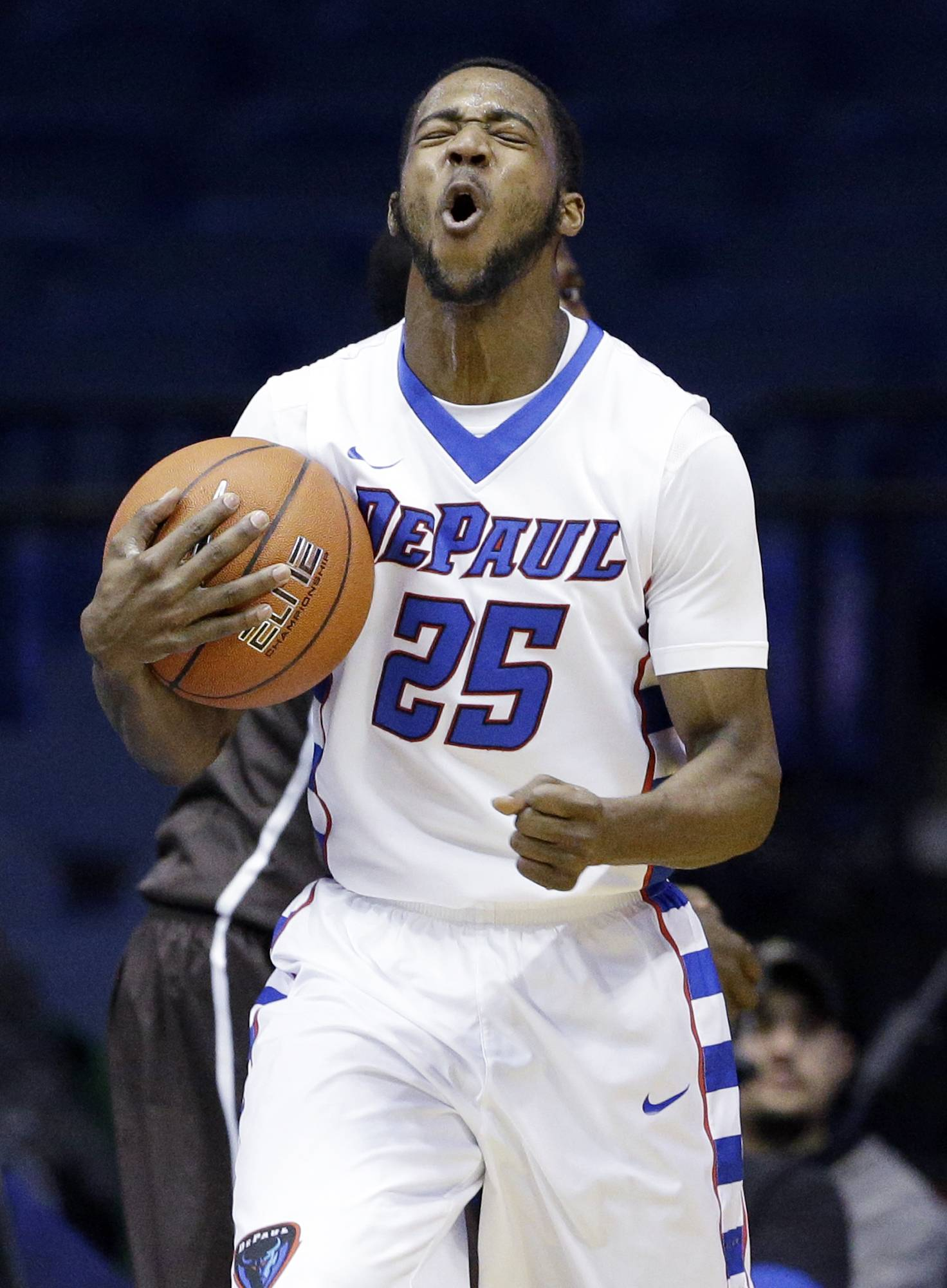 DePaul guard Durrell McDonald (25) reacts after getting called for a foul during the second half against Lehigh in Rosemont.