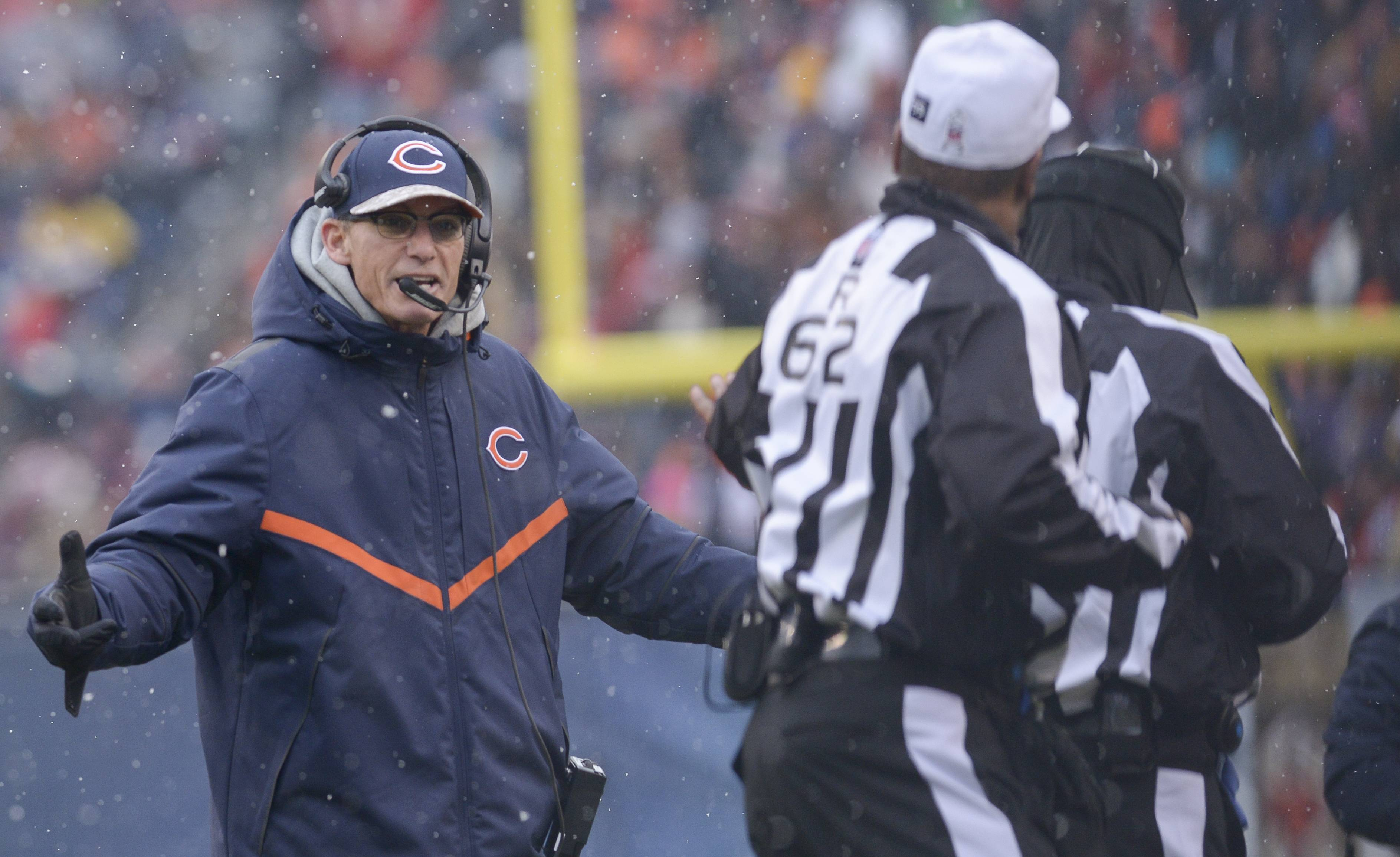 Chicago Bears Head Coach Marc Trestman speaks with officials during Sunday's game against the Minnesota Vikings at Soldier Field in Chicago.