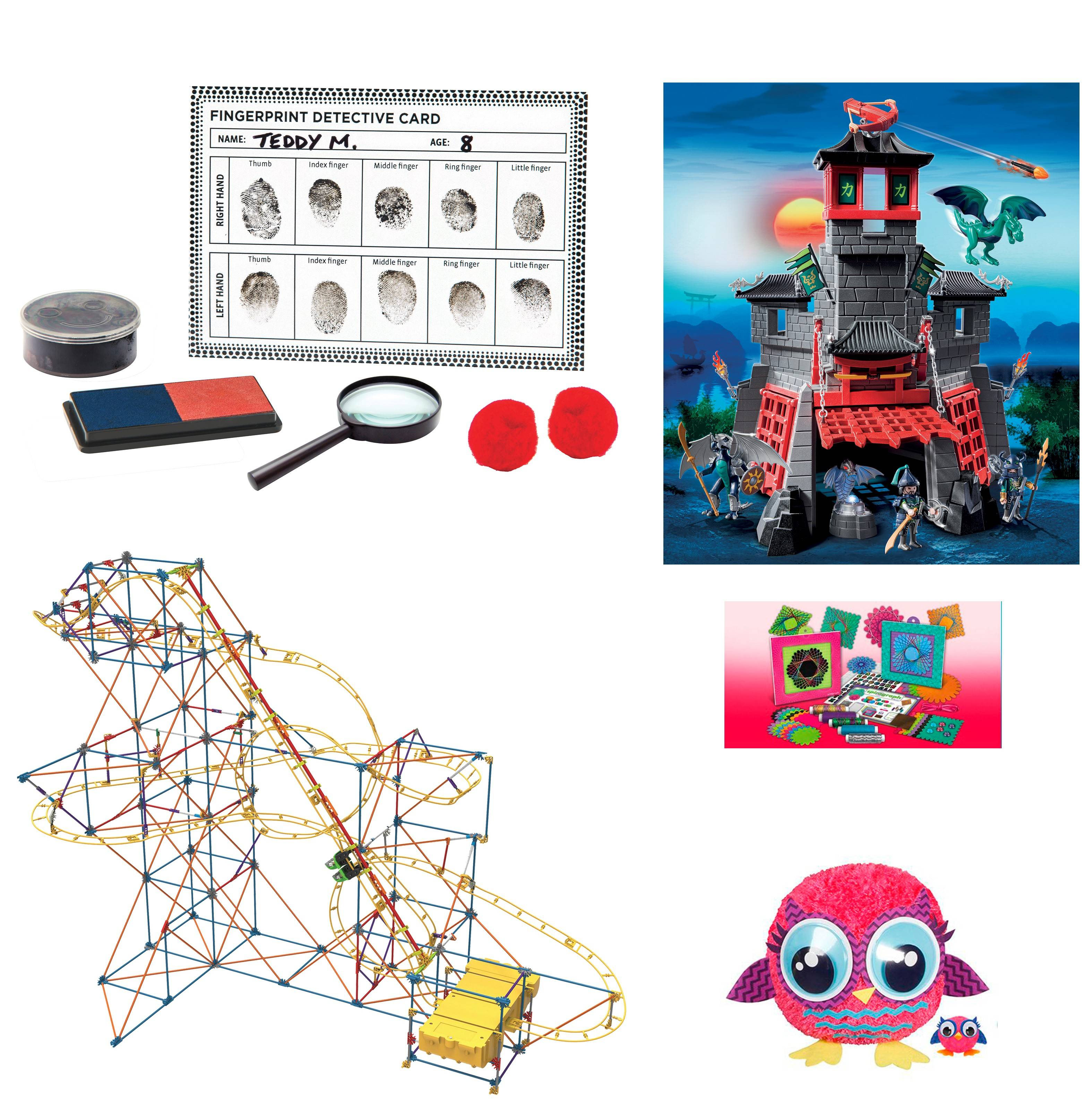 Here are some toys that were popular among young testers for The Washington Post. Clockwise from top left: Fingerprint Detective, Playmobil Secret Dragon Fort, Spirograph String Art, Pom Pals Owl Kit, K'Nex Hyperspeed Hangtime Roller Coaster Building Set.