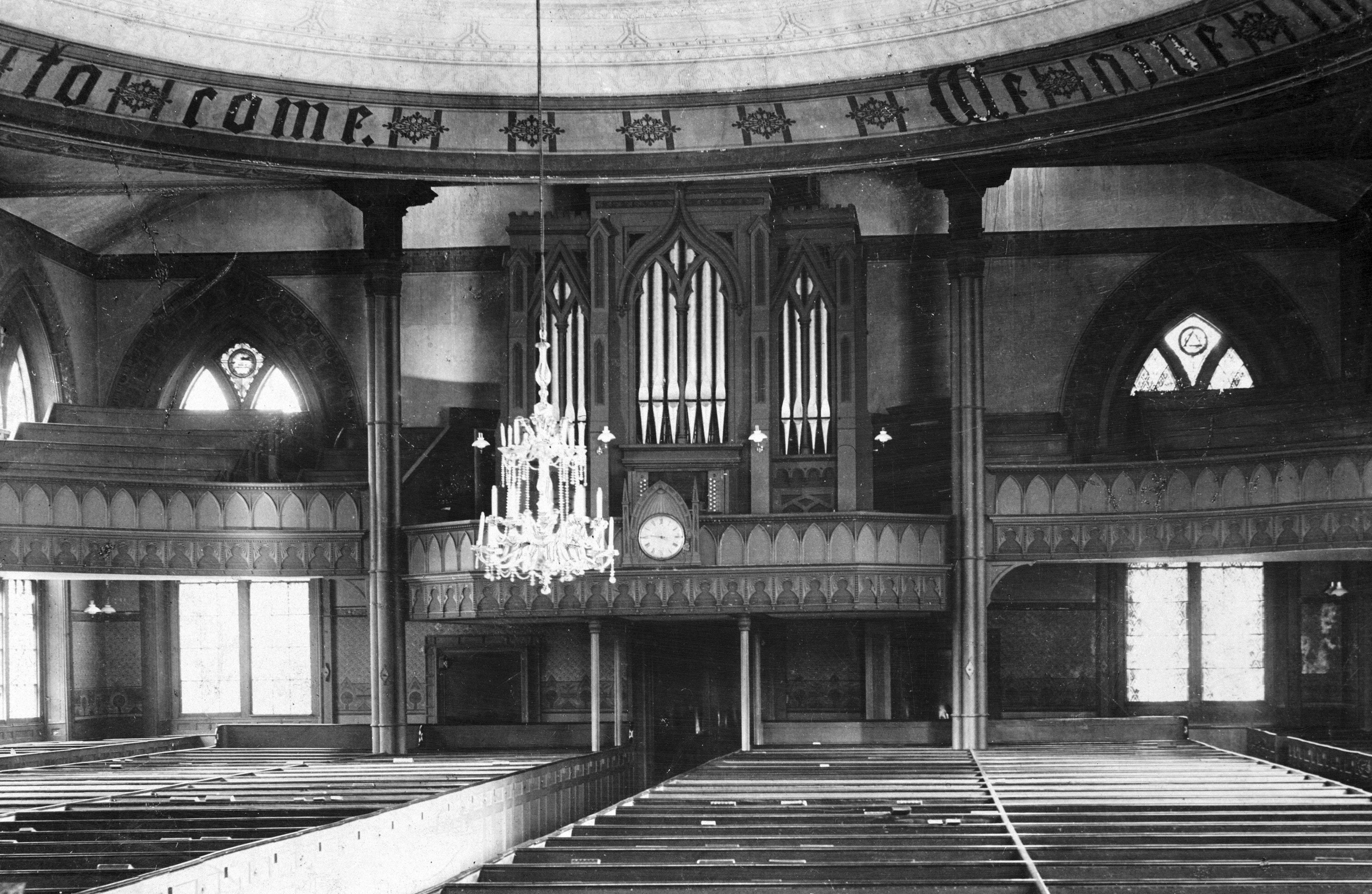 This undated photo from the U.S. Library of Congress shows the former Cathedral of St. John Episcopal Church in Providence, R.I. Diocese officials said slaves worshipped in the elevated pews at the back of the sanctuary, which were later removed. A proposal would convert the shuttered church into the nation's only museum centered on the trans-Atlantic slave trade.