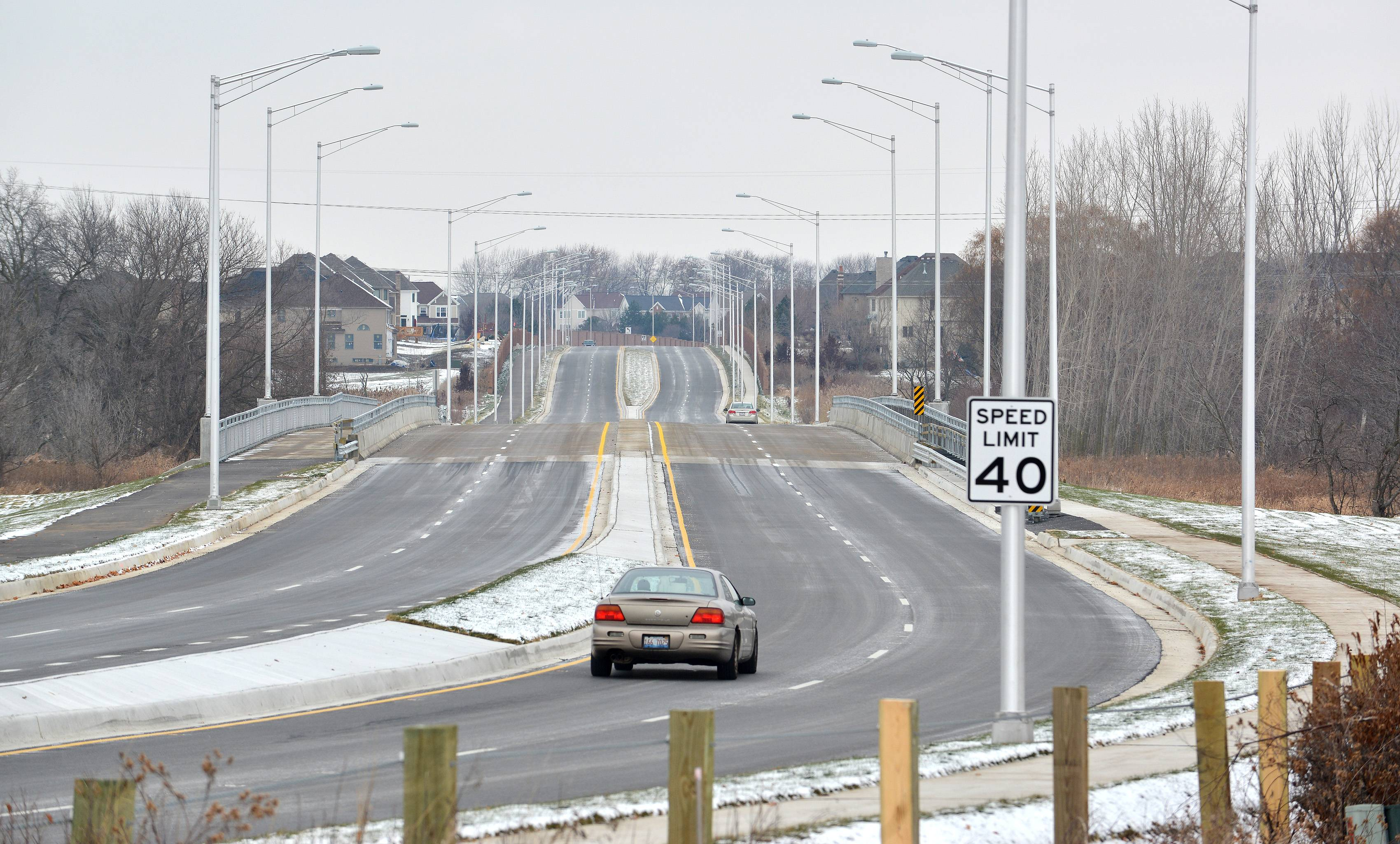 It's been less than a month since the new 95th Street bridge opened between Naperville and Bolingbrook and nearby residents are noticing a trend of some drivers street racing and using the new stretch as a speedway, paying no attention to the 40 mph speed limit sign on the east side of the bridge.