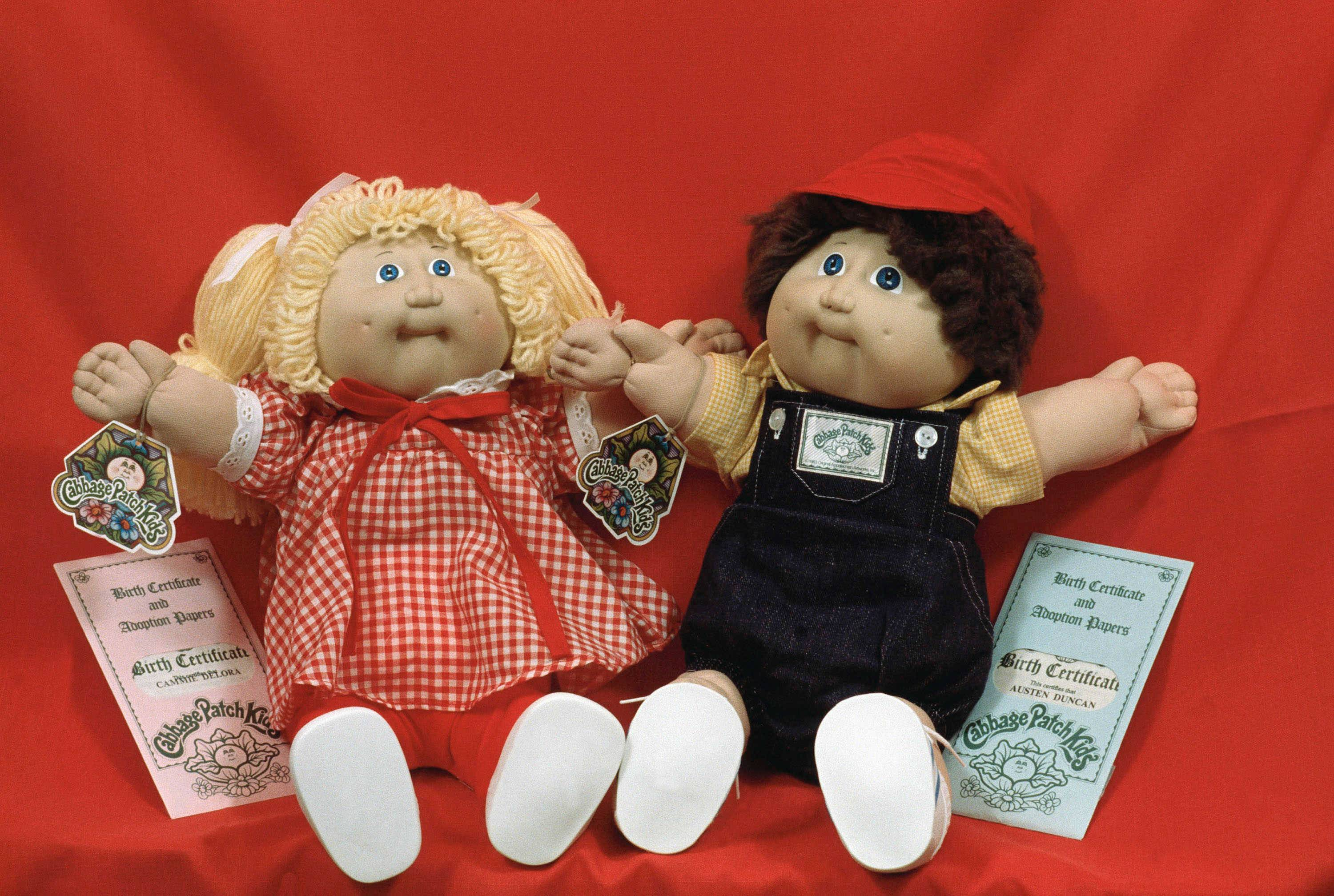 "Cabbage Patch Kids are shown on display in Boston on Nov. 28, 1983. Coleco Industries was working hard to meet the unprecedented demand for the ""adoptable"" toys."